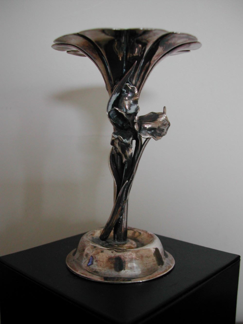 japanese silver organic iris spill vase dating to the meiji period
