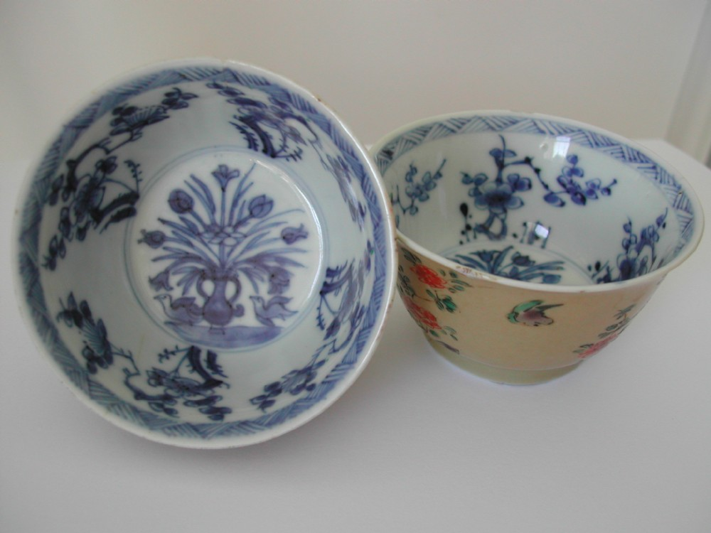 pair chinese famille verte cafe au laite tea bowls kangxi