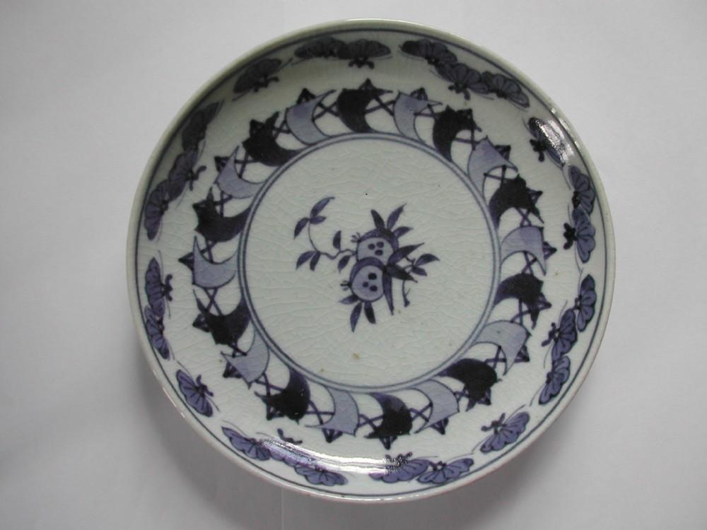 rare japanese arita blue and white sail design shallow dish circa 1720