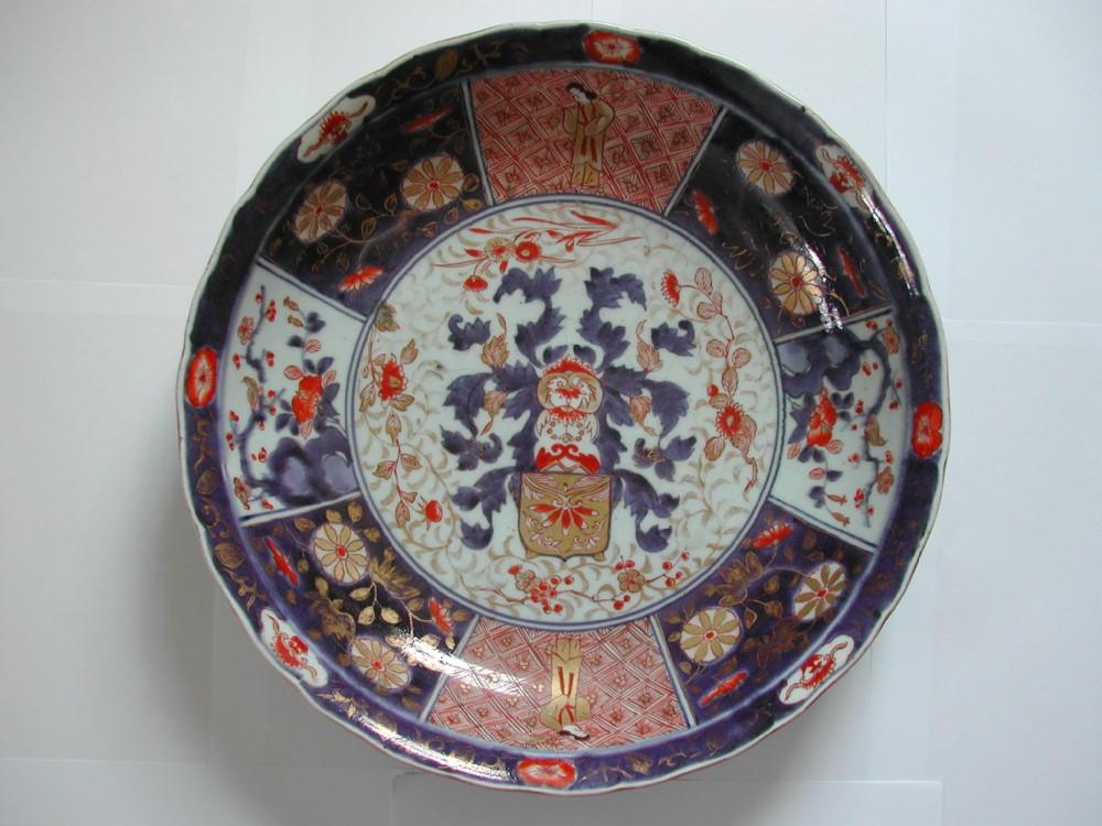 a fine rare japanese arita imari large deep armorial dish 18th century