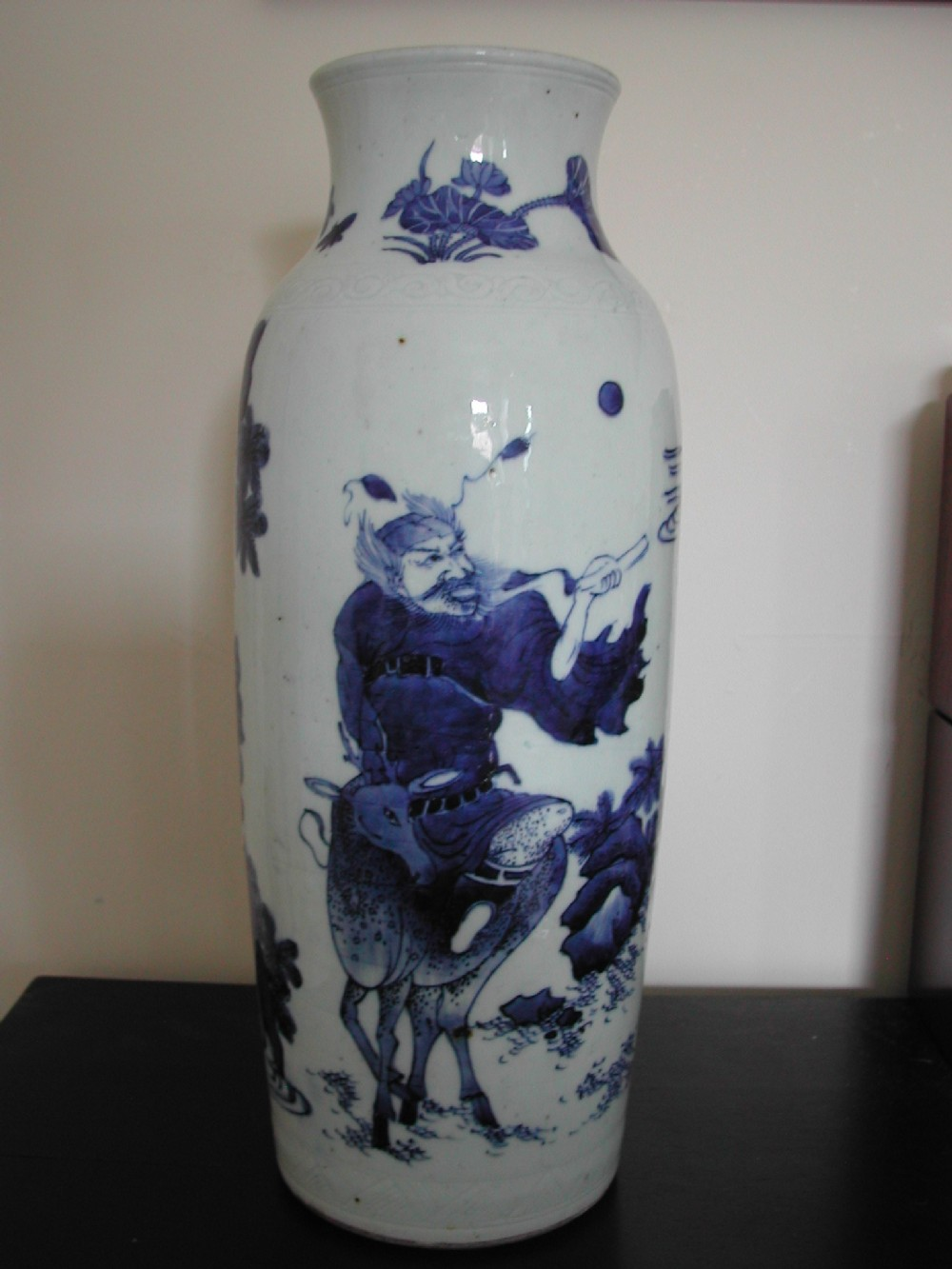 a fine chinese transitional blue and white sleeve vase circa 1640