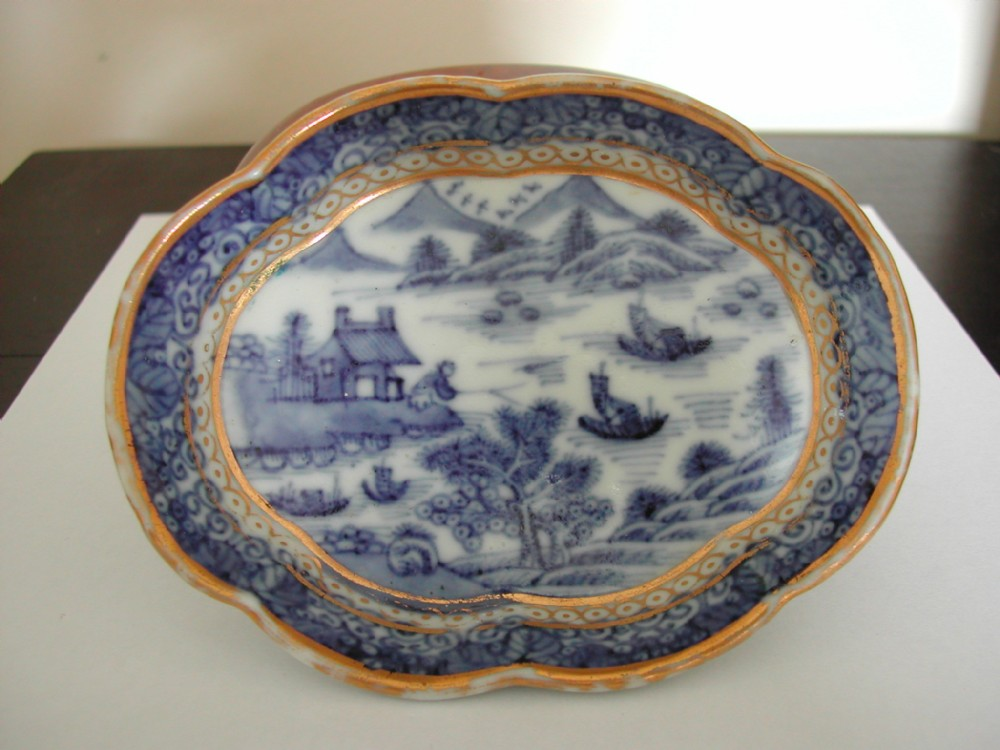 chinese blue white nanking spoon tray 18th century