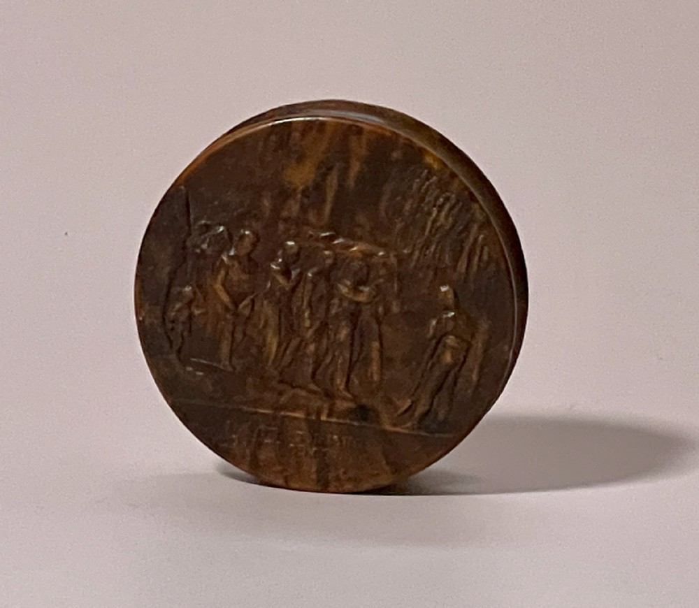 antique pressed wood snuff box napoleonic