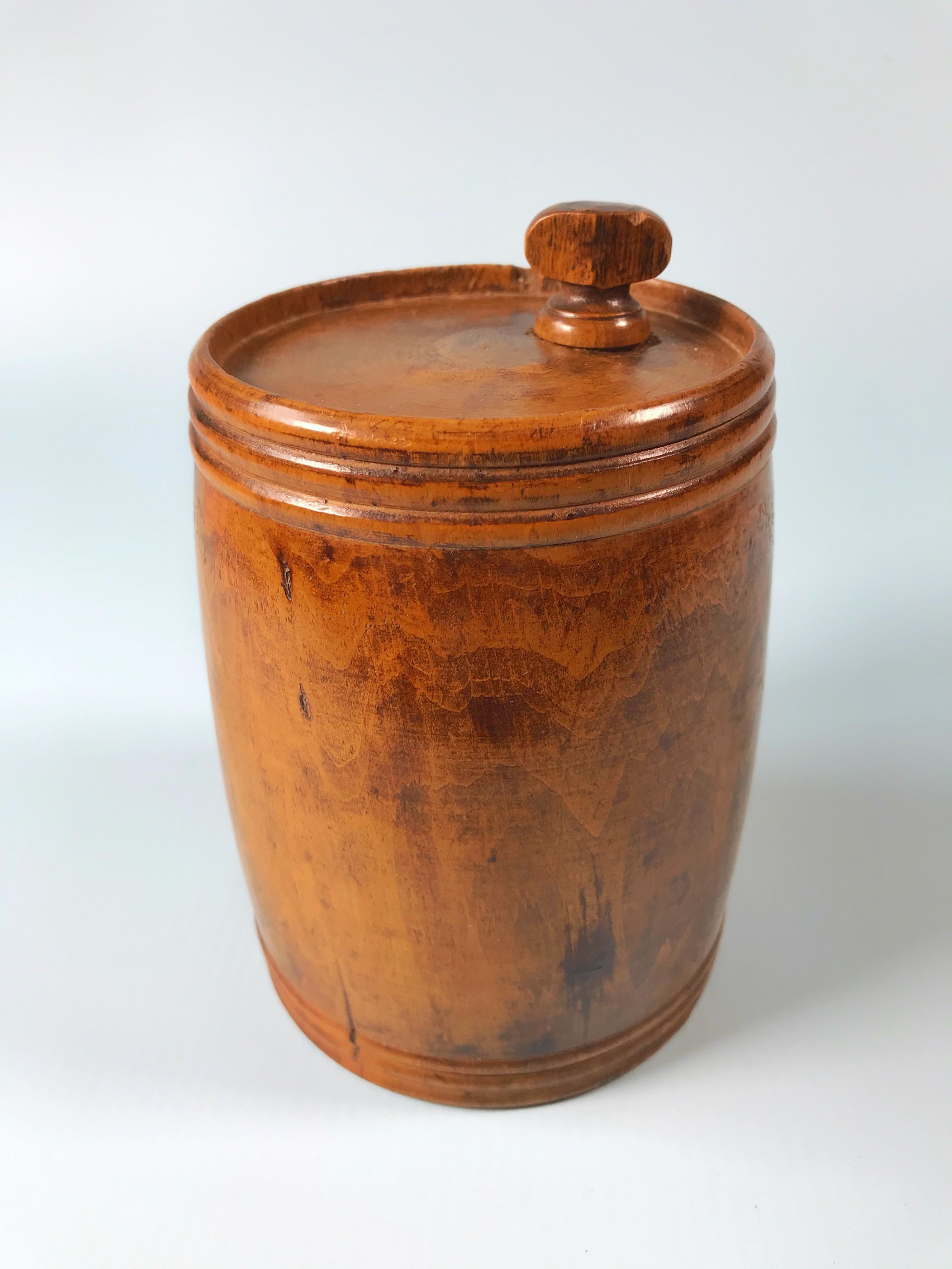 antique treen storage barrel
