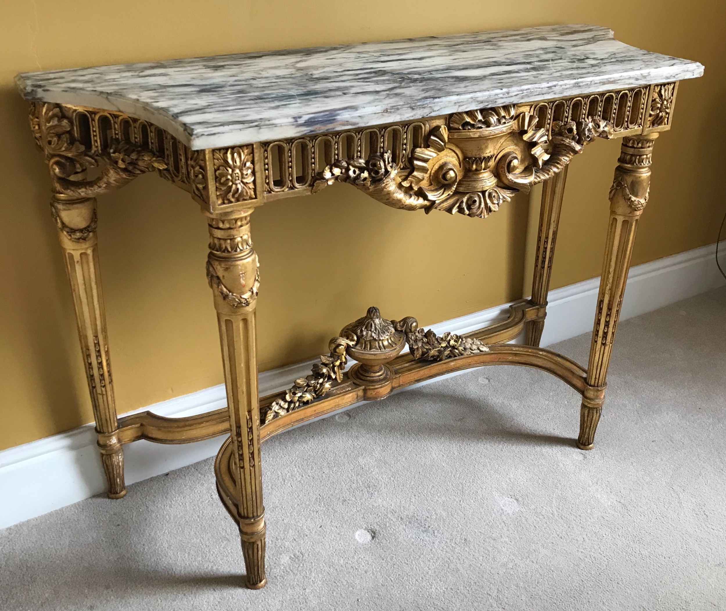 an english carved giltwood neoclassical console table pier table