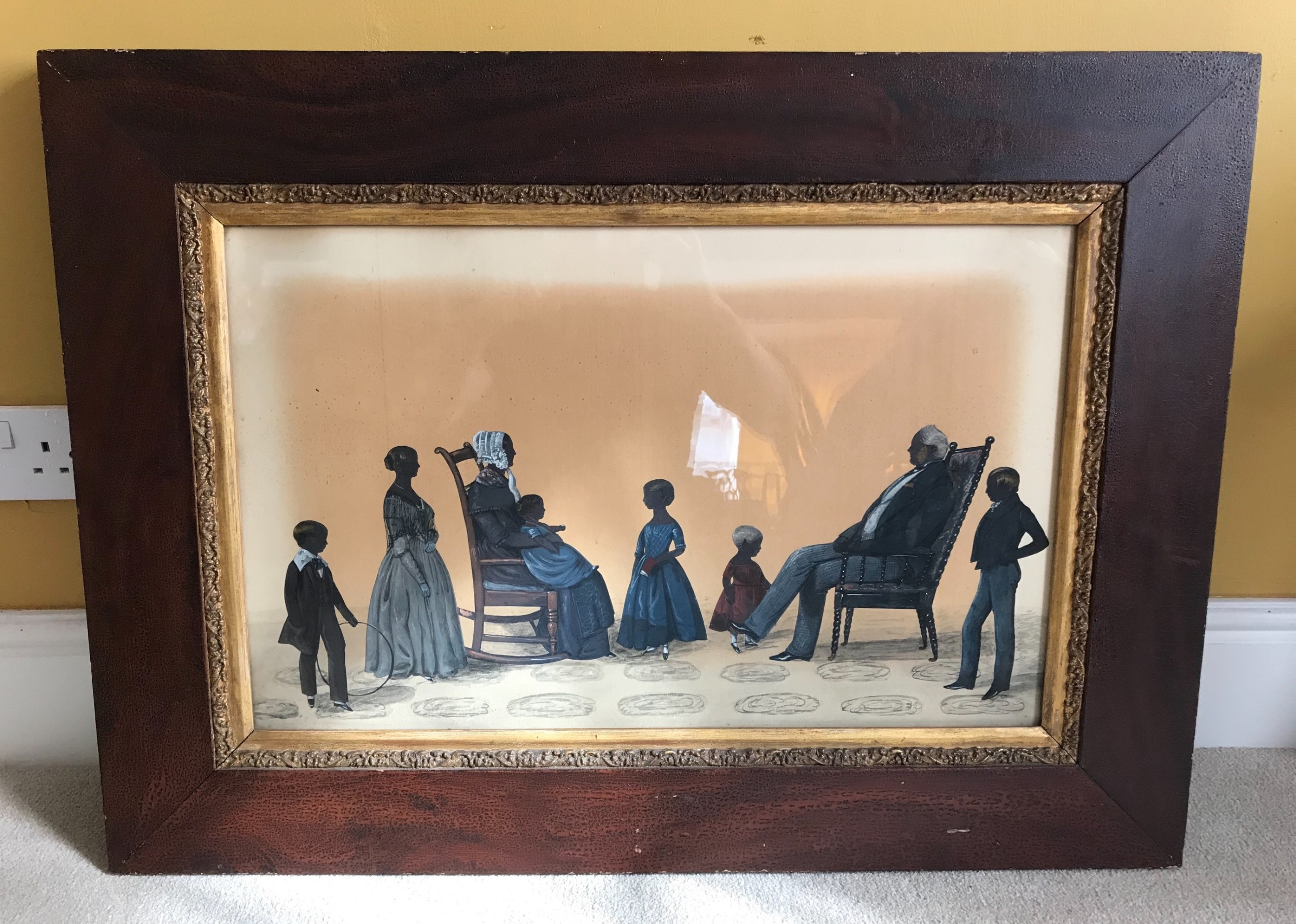 an exceptional and large 19thc silhouette picture by samuel metford