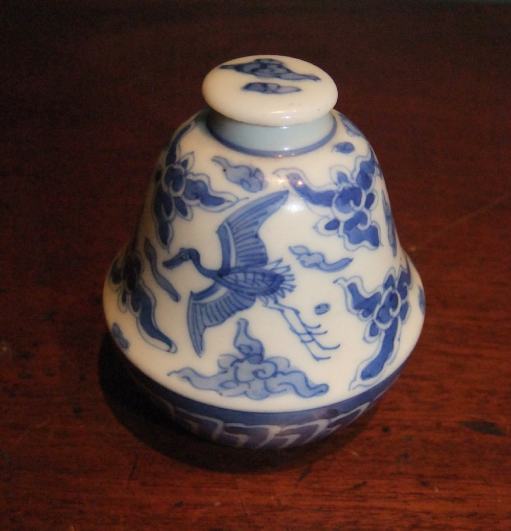 chinese blue white porcelain lidded 'cranes' bottle kangxi 16611722