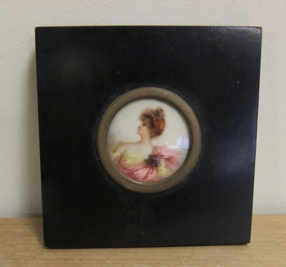 art nouveau miniature painting of a young lady c1900