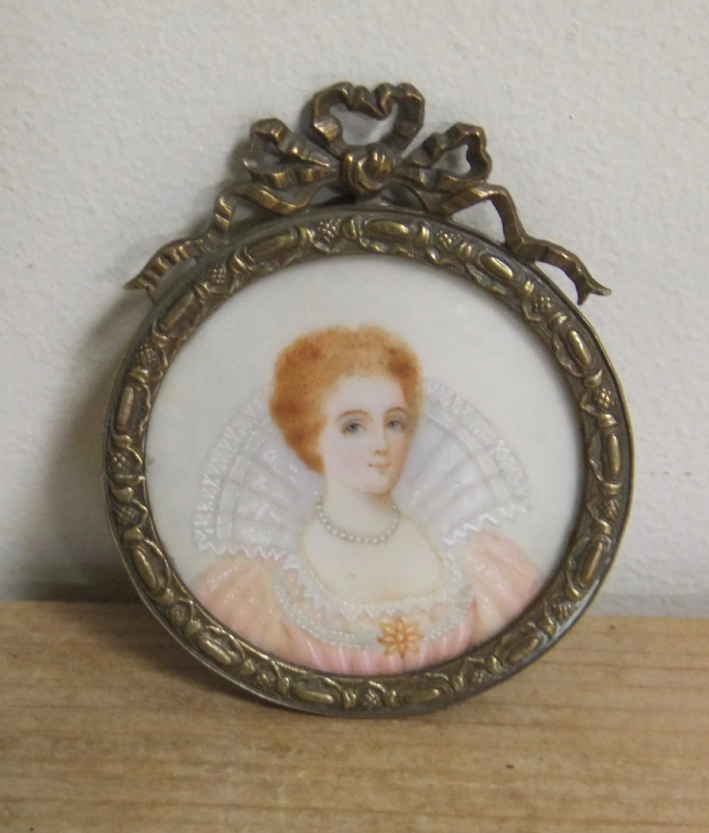 19th c miniature of a young lady of nobility c1880
