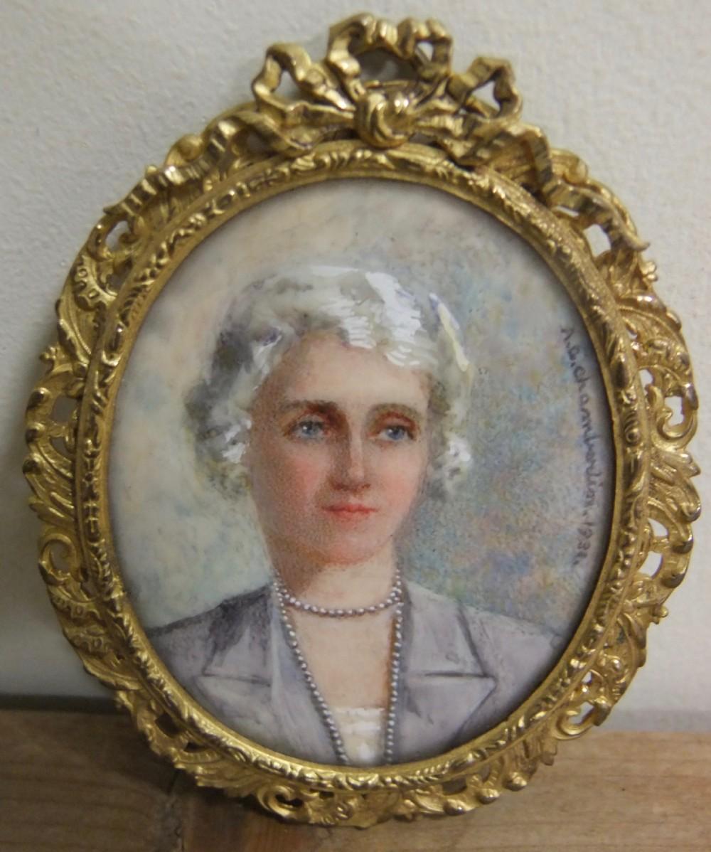 edwardian miniature painting signed ac chaimberlin 1931