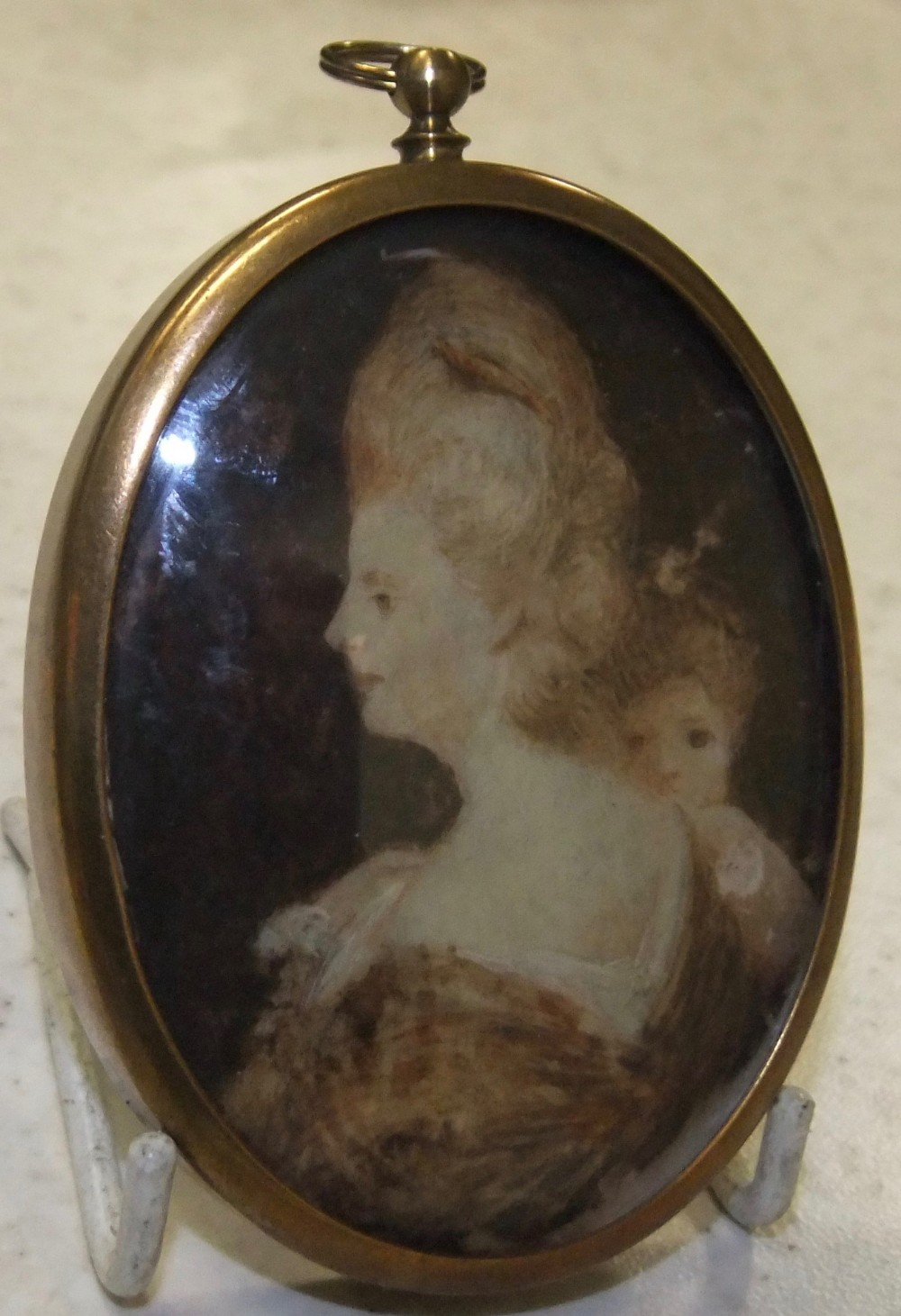 late 18th c french miniature painting of a lady and child c1780