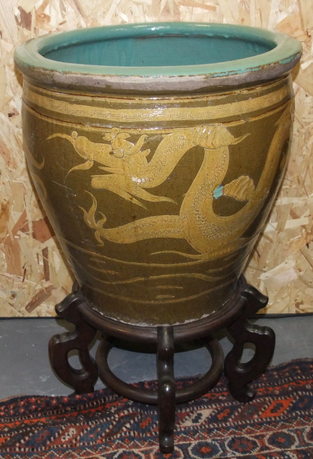 large antique 19th c chinese earthenware planter on a stand