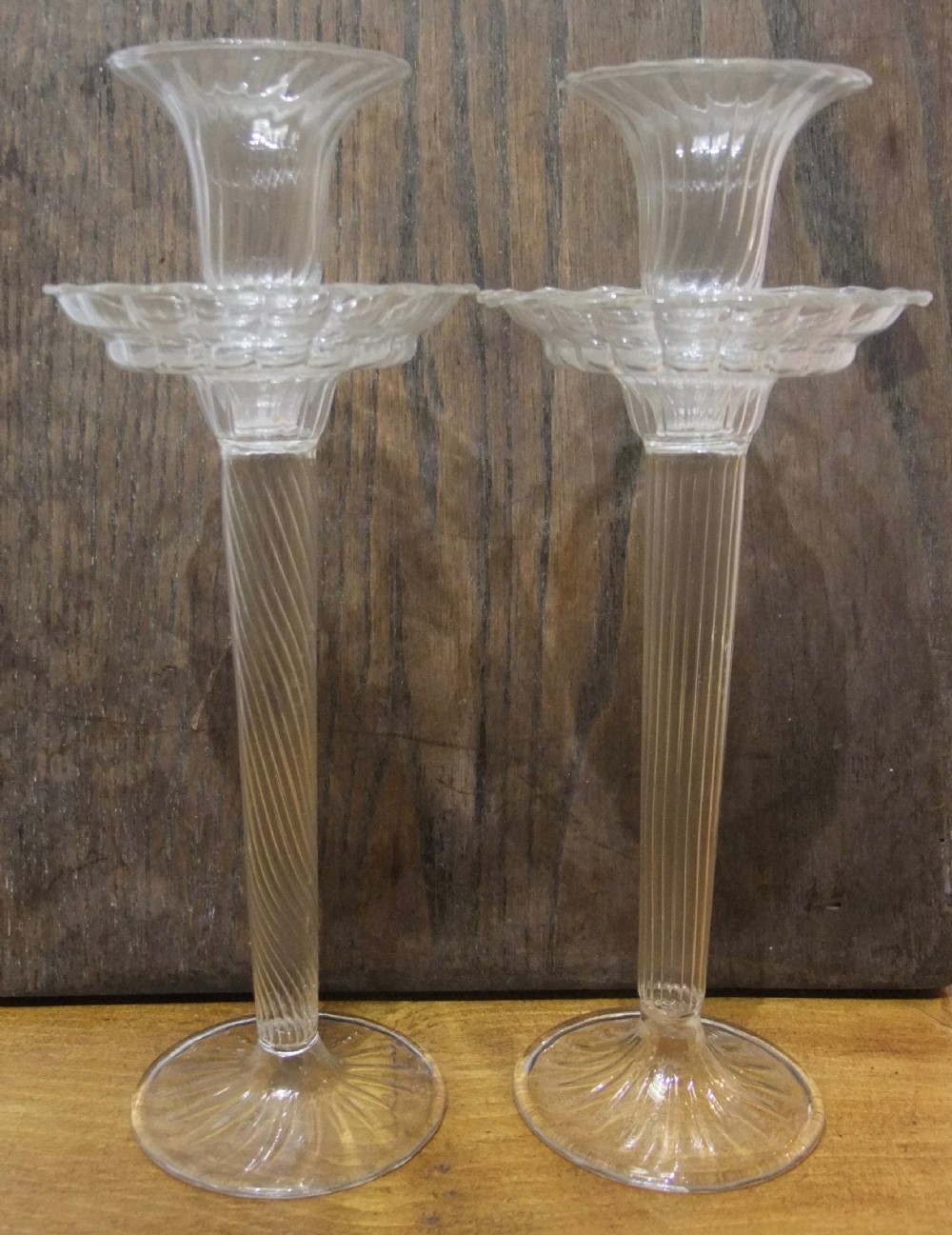 pair of delicate 19th c venetian 'murano' narcissus shaped glass candle sticks