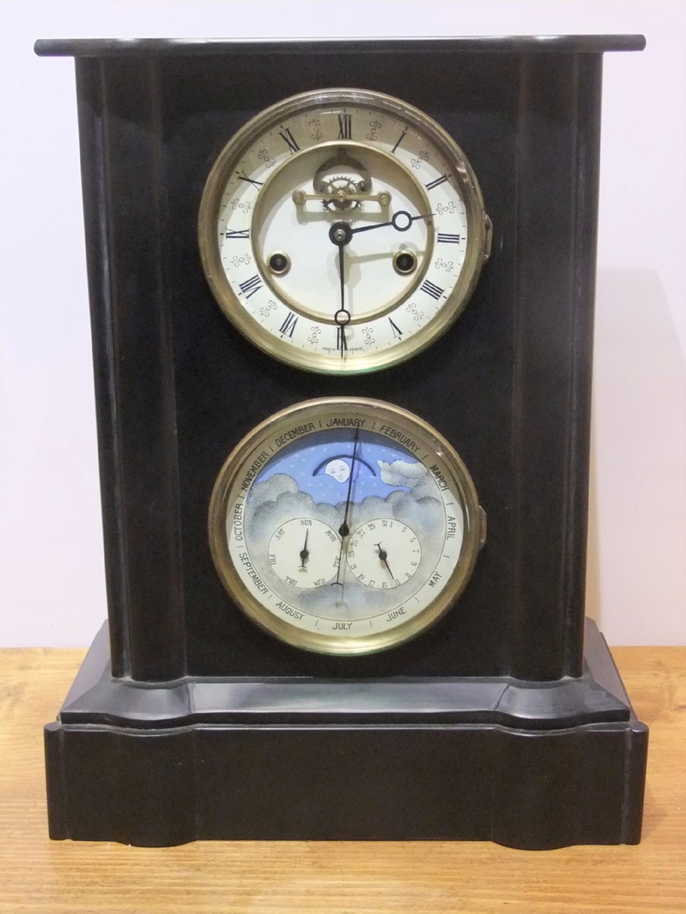 19th c french perpetual calendar clock with moon phase c1880 for the english market
