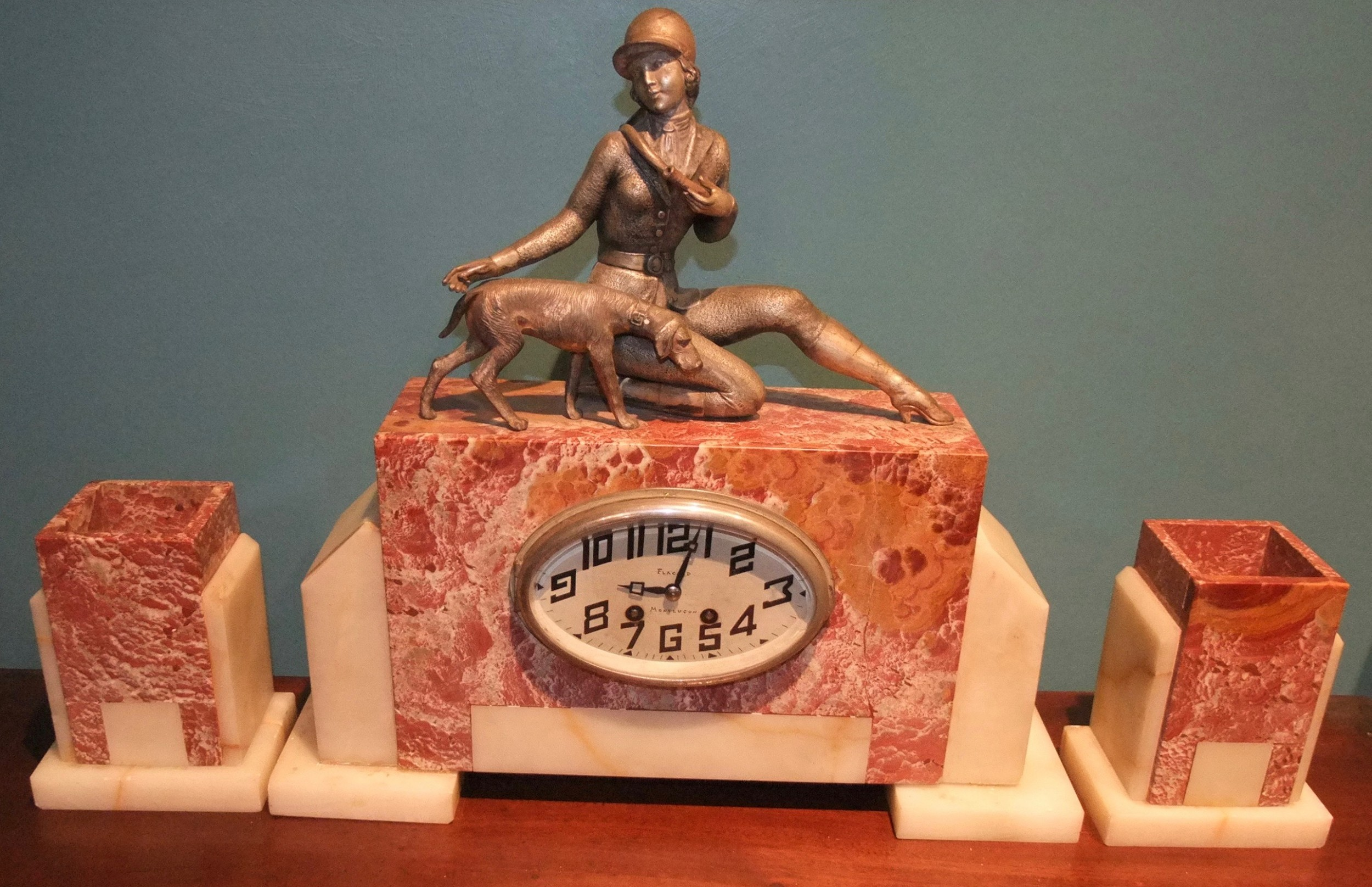art deco three piece marble clock set 'lady and dog' c1930