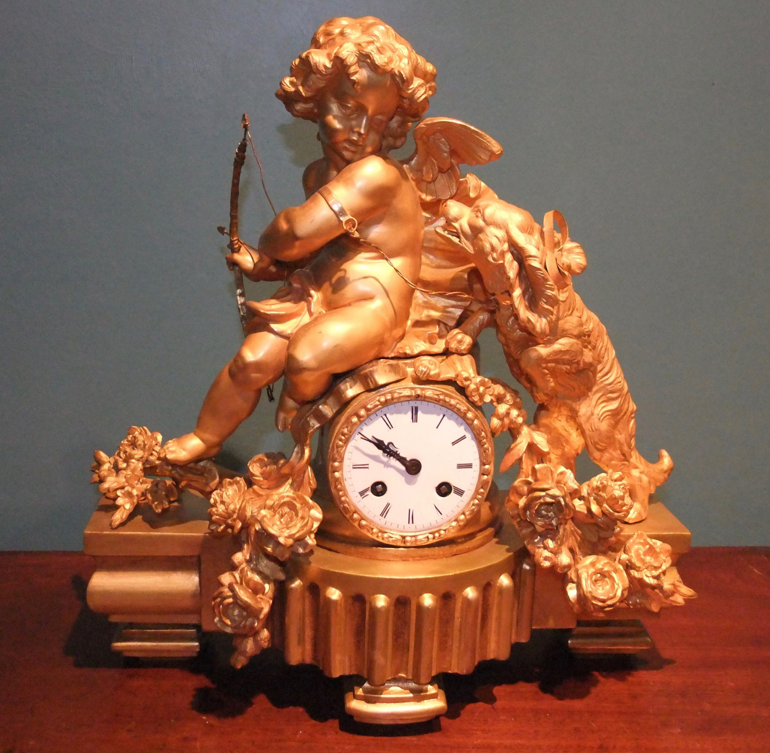gilt bronze mantle clock by ph mourey 'putto with dog' c1860