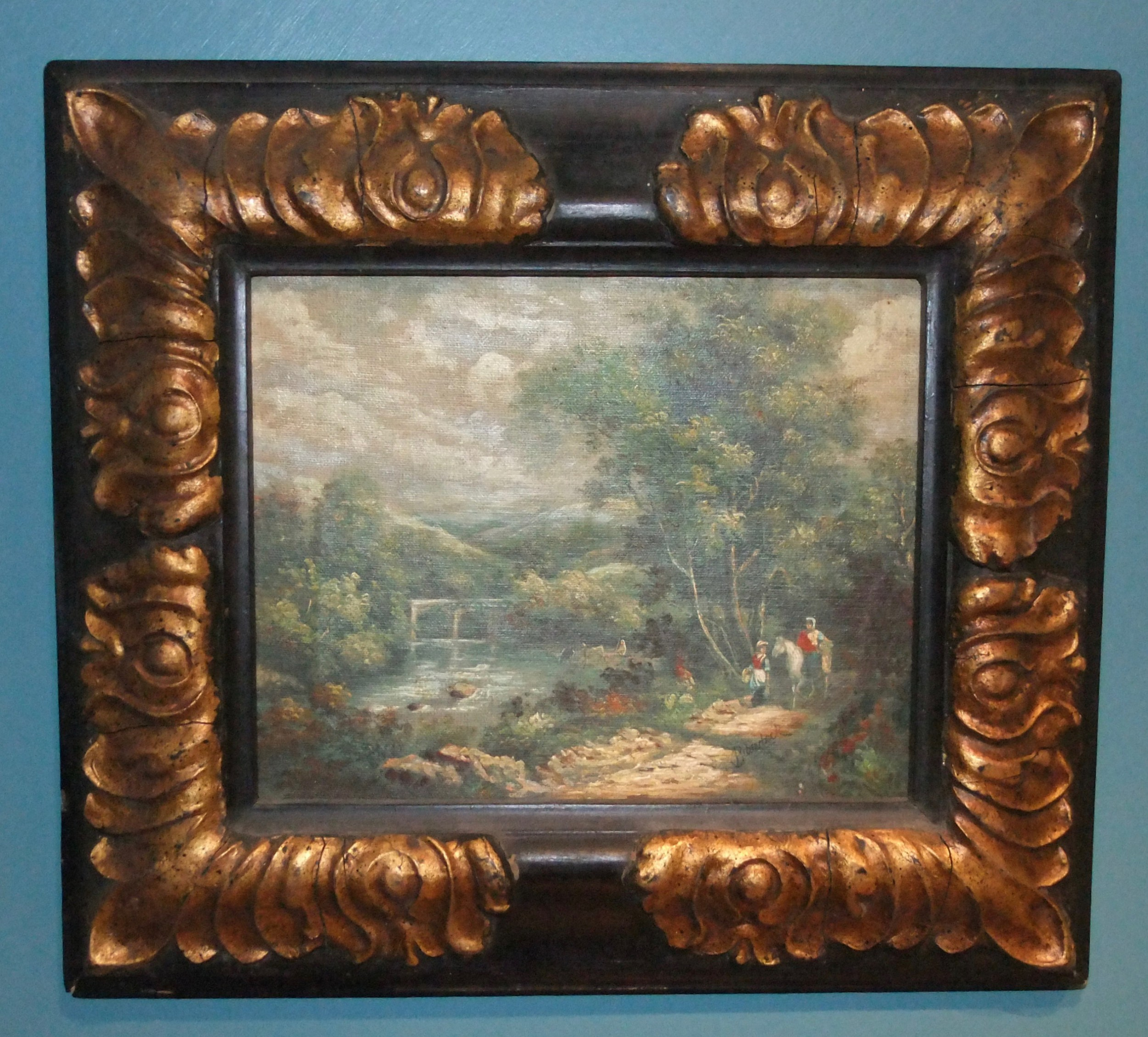 late 19th c romantic school english landscape with viaduct oil on canvas signed bilderbeck