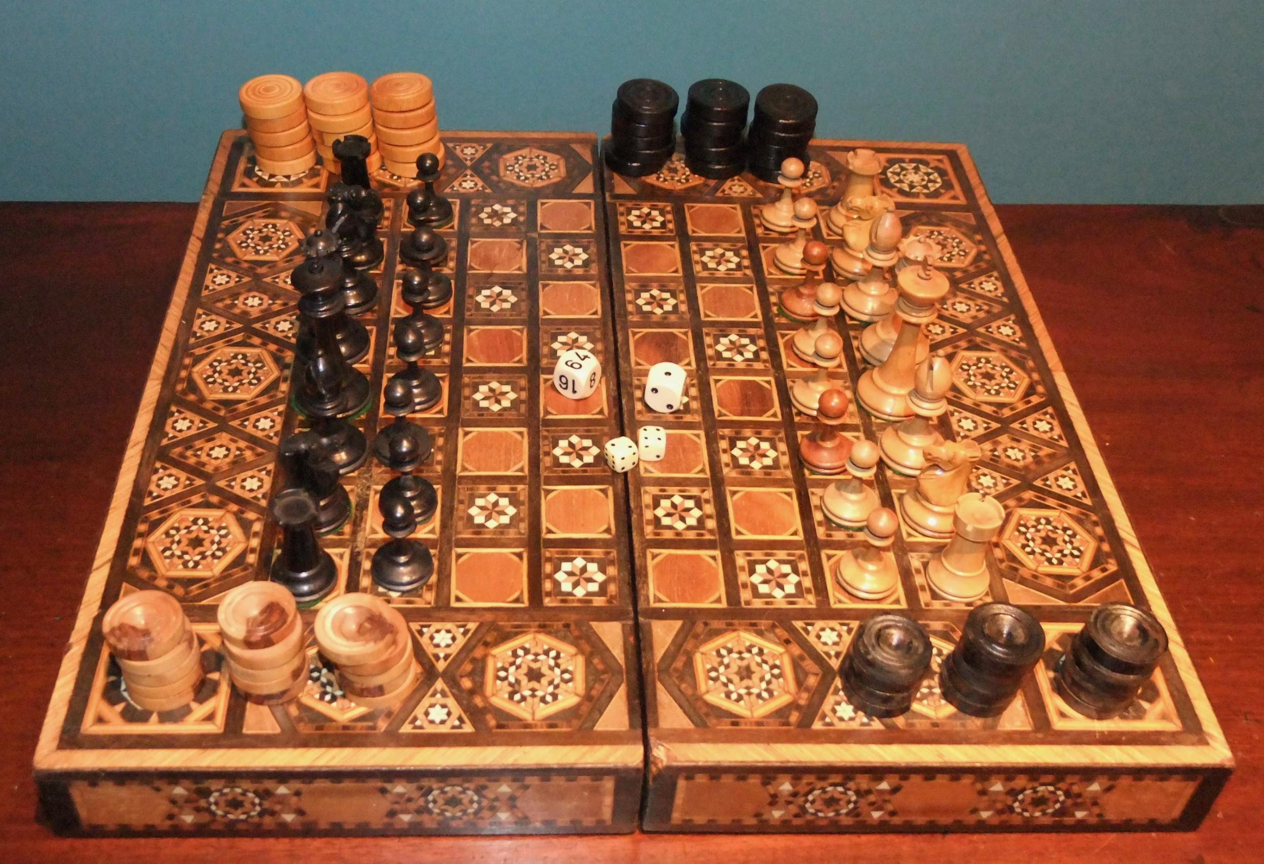 antique marquetry games box c1900