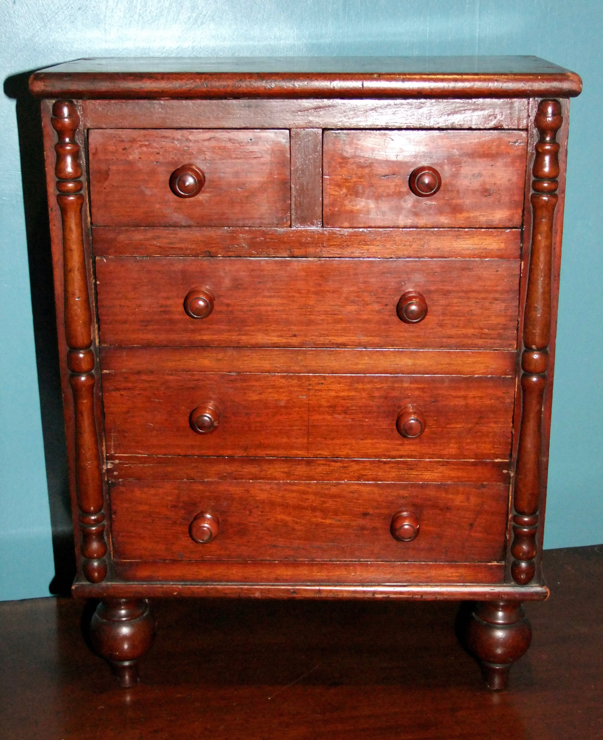 victorian mahogany miniature 2 over 3 chest of drawers c1880
