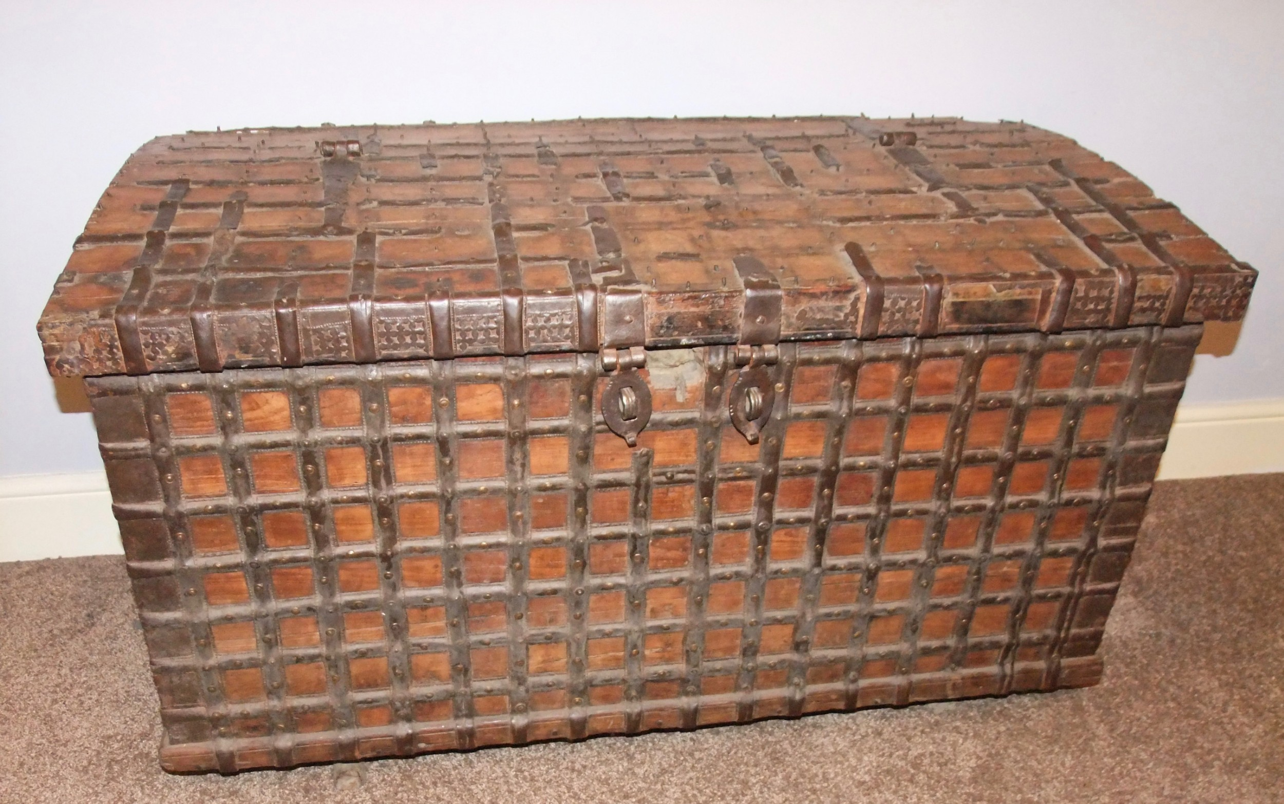 large 18th c french walnut iron strongboxcoffer