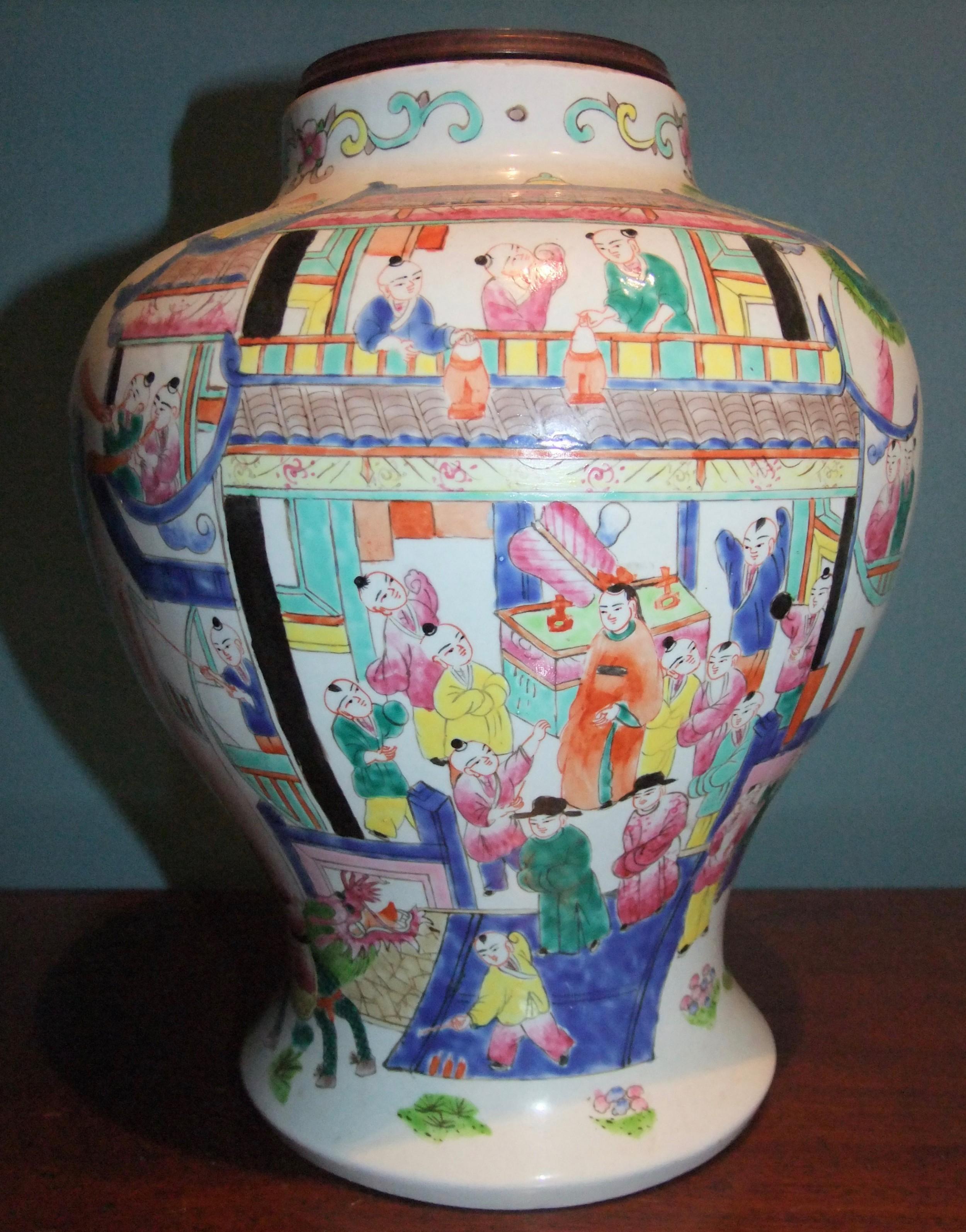 19th c chinese porcelain famille rose vase