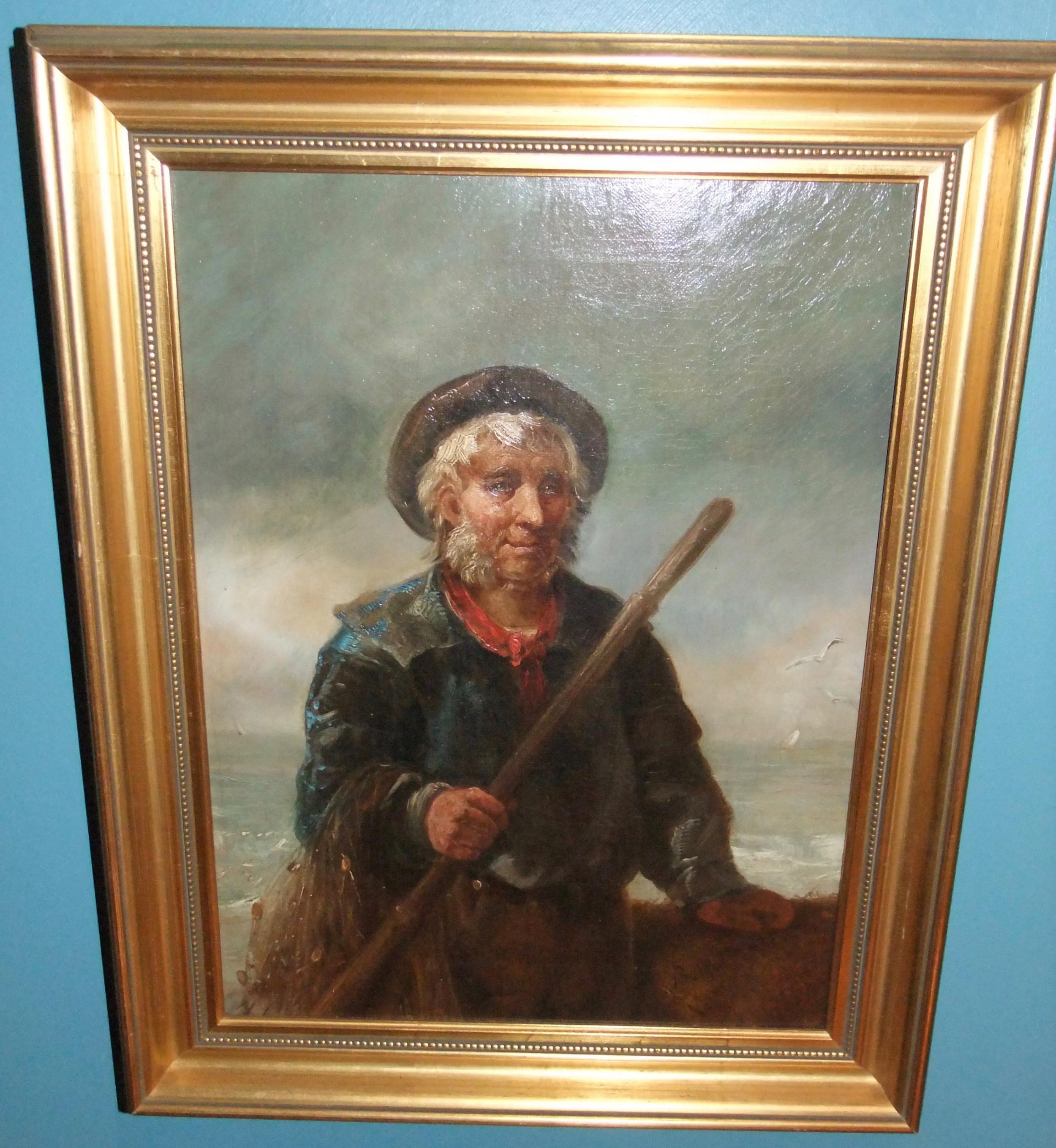 victorian romantic english school 'cornish fisherman' c1880