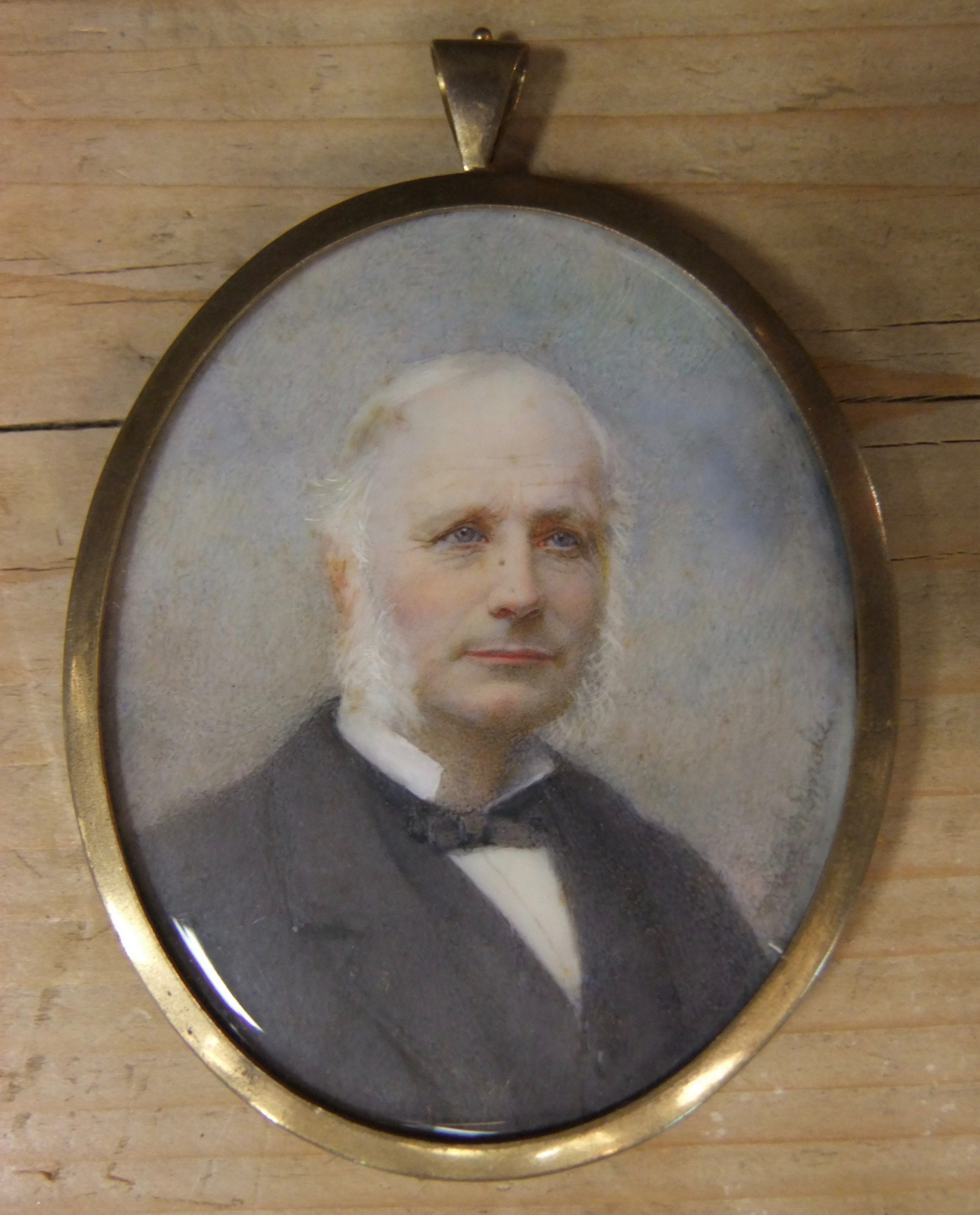 mid victorian miniature painting of a gentleman c1850