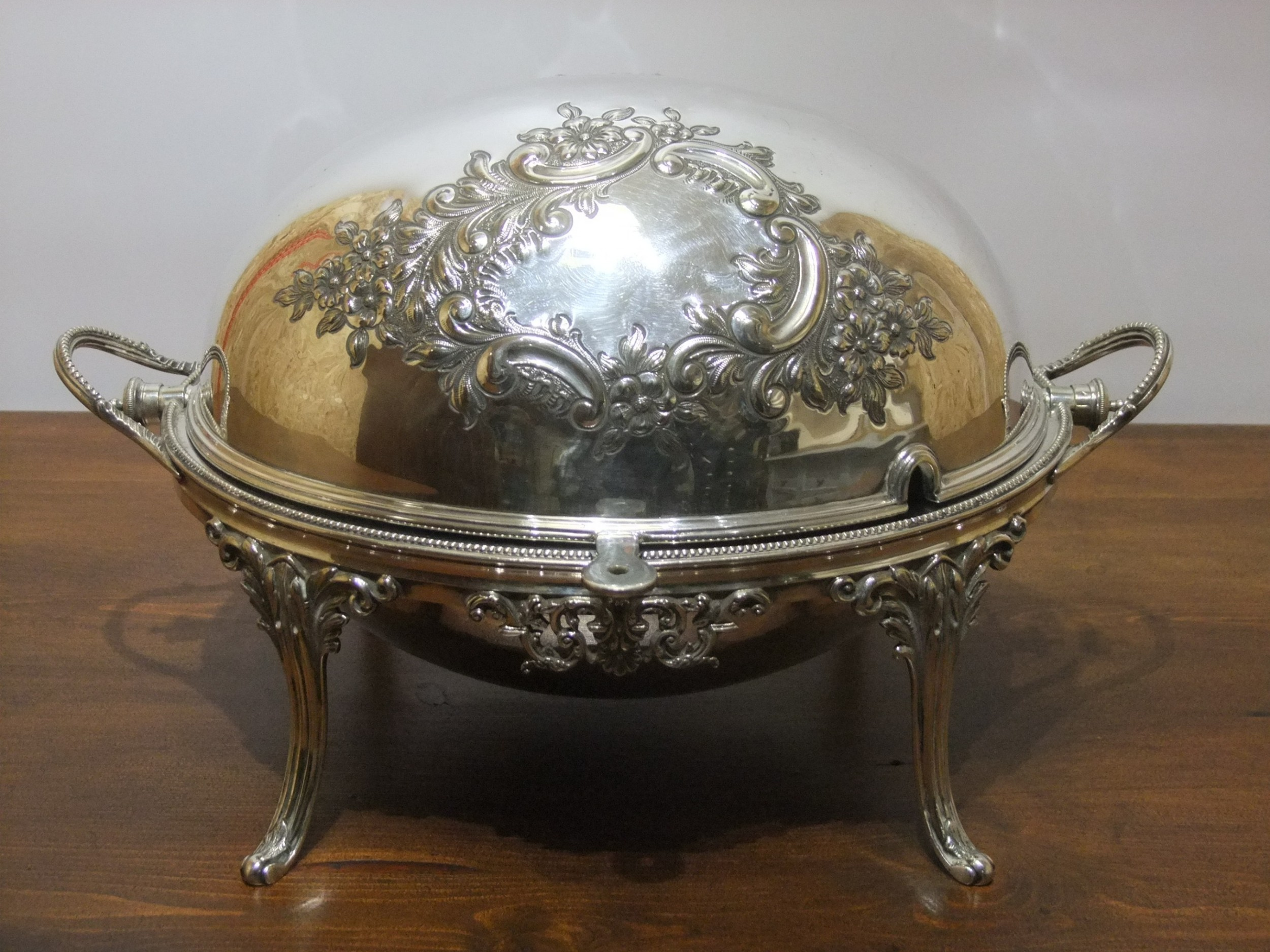 large victorian silver plated revolving serving dish by joseph rodger sheffield c1880