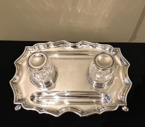 edwardian solid silver double inkstand 1902
