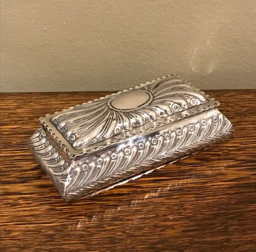 superb quality victorian silver jewellery trinket box