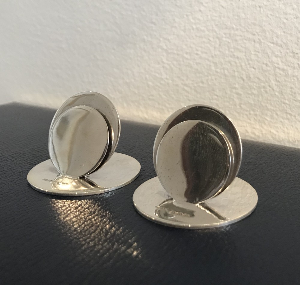 pair of silver menu holders by zimmerman