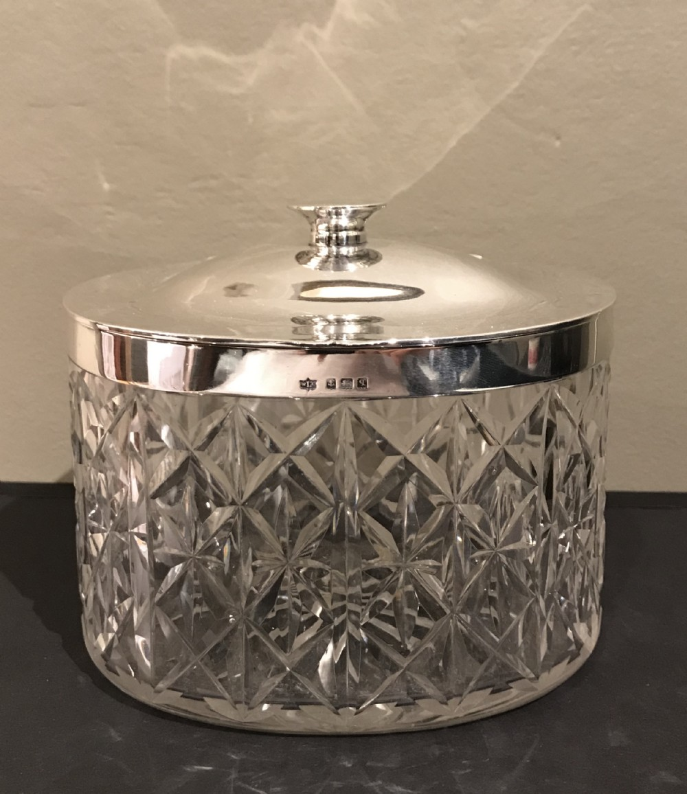 george v silver cut glass biscuit box hallmarked birmingham 1915 by w coulthard ltd