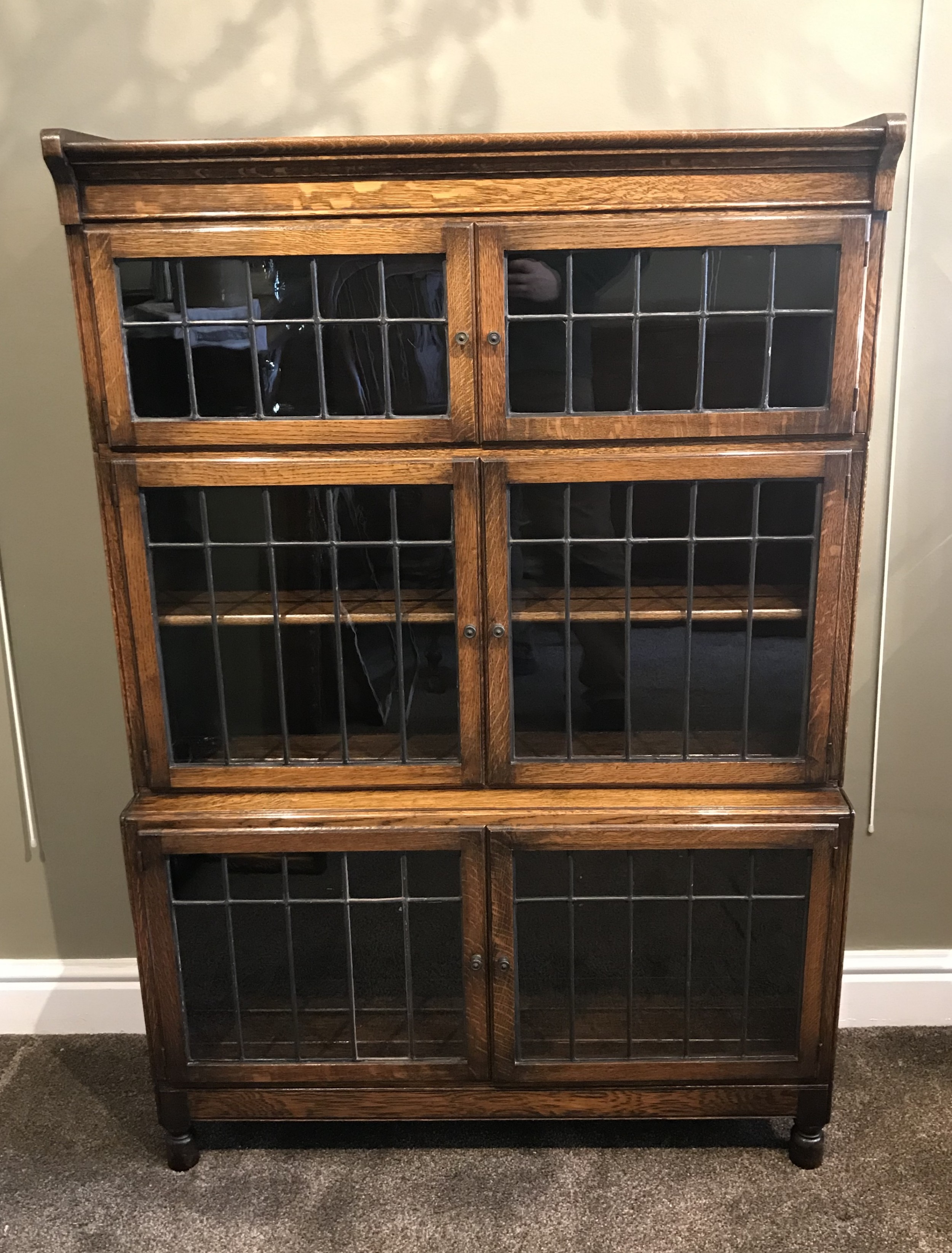 quality edwardian oak stacking bookcase by minty