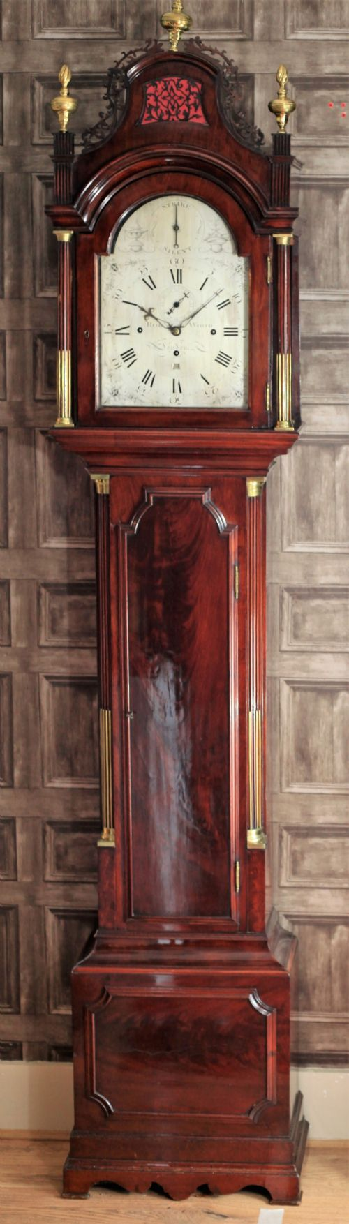 a fine quality flame mahogany 8 bell quarter chiming london pagoda longcase clock by robert wood 17851810