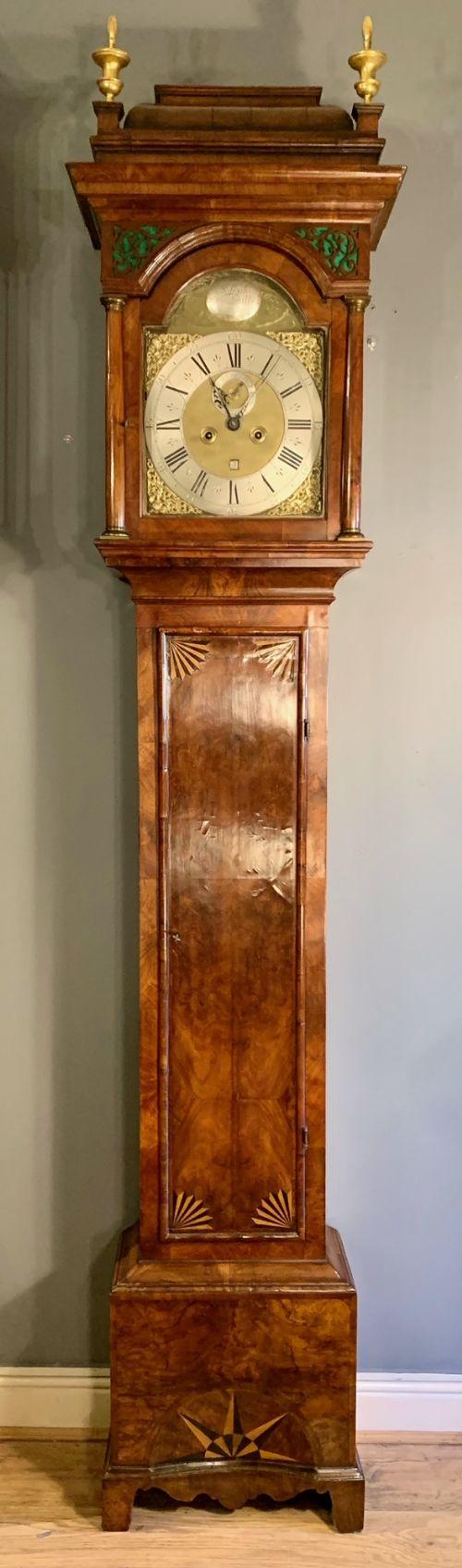 a stunning james ii burr walnut longcase clock by joseph windmills c1690