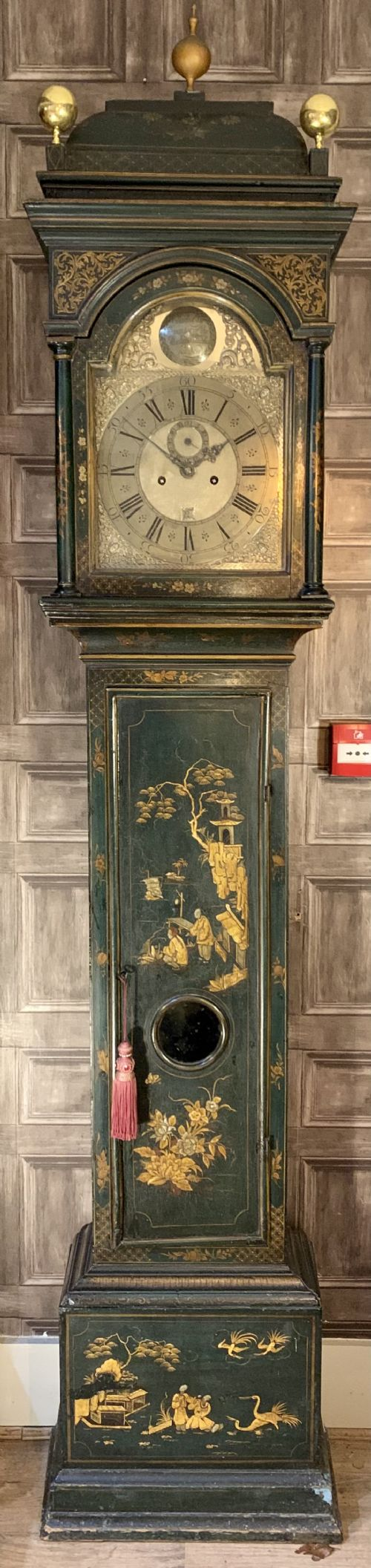 a fine green chinoiserie longcase clock by charles clay c1720