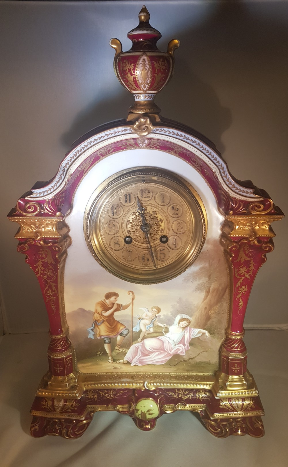 royal vienna porcelain clock with a painted panel