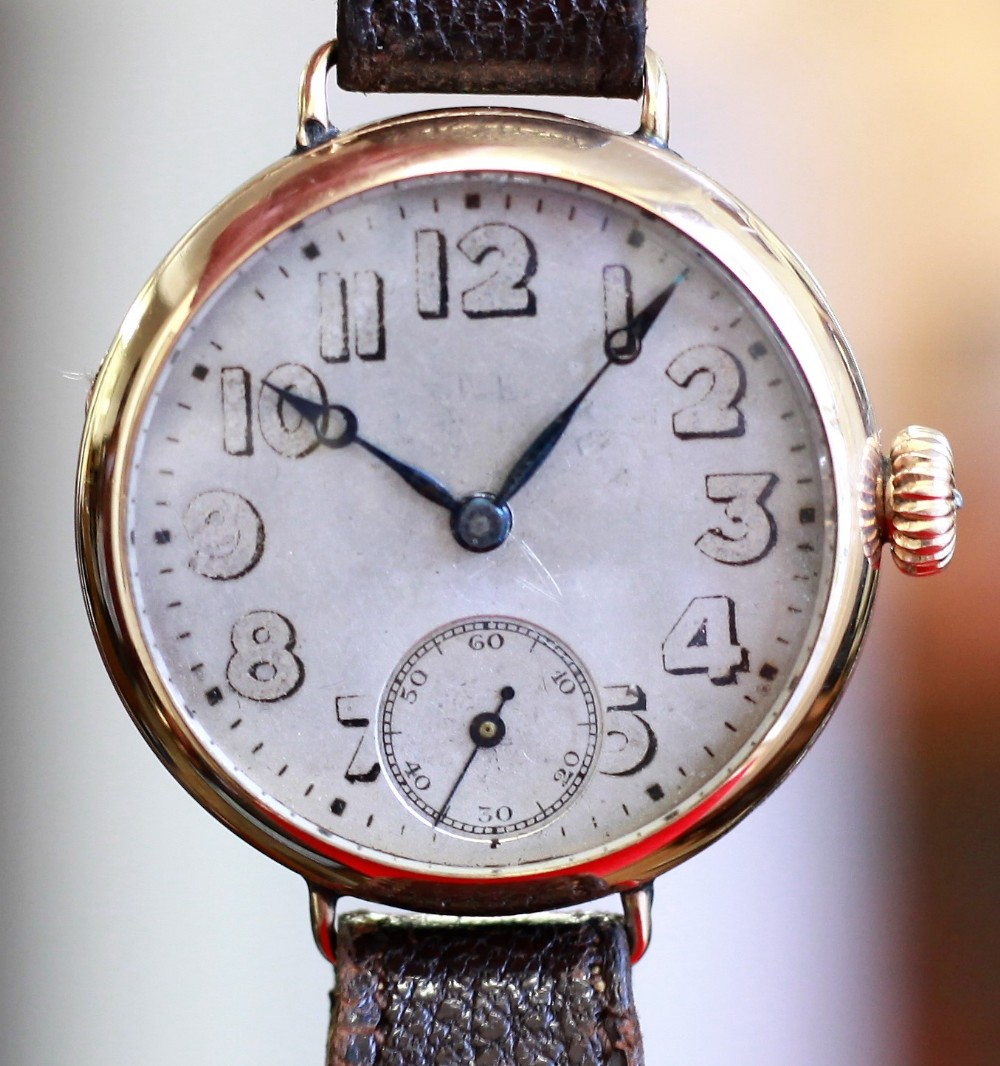 very rare c191418 officers issue gold rolex watch with oversize dial