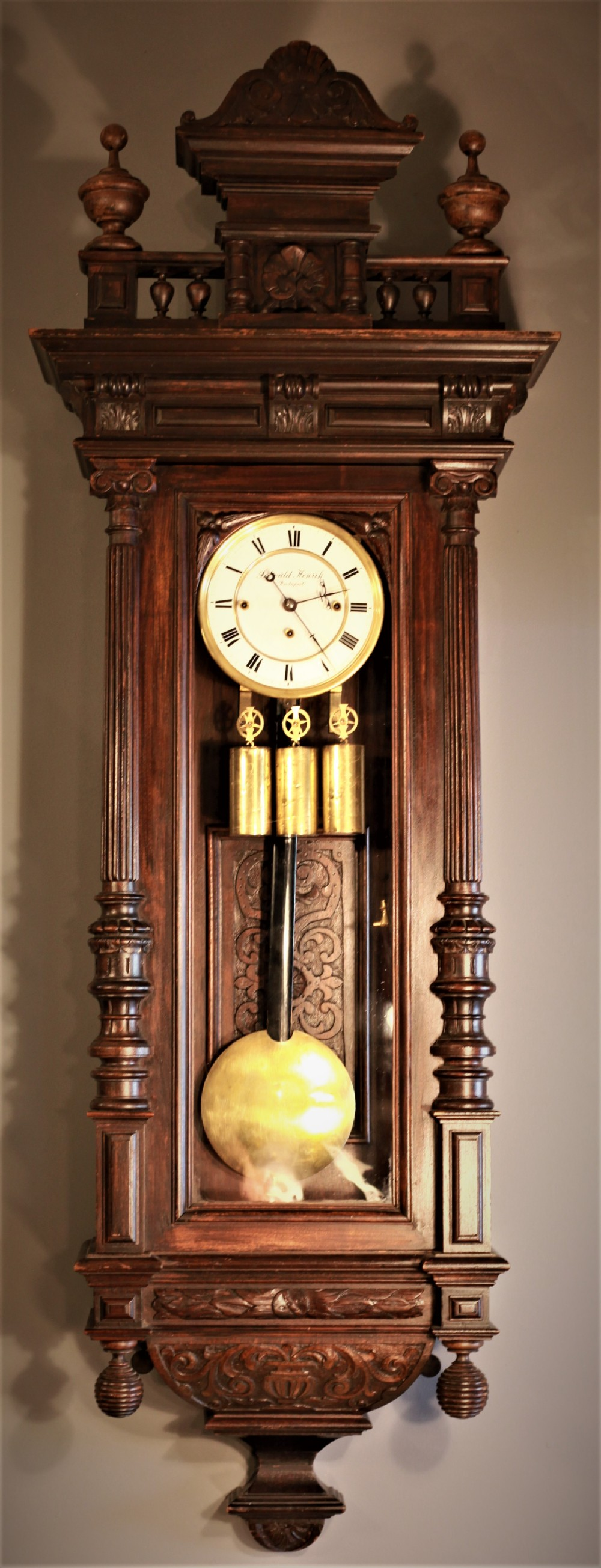 large grand sonnerie 19th century highly carved oak vienna clock