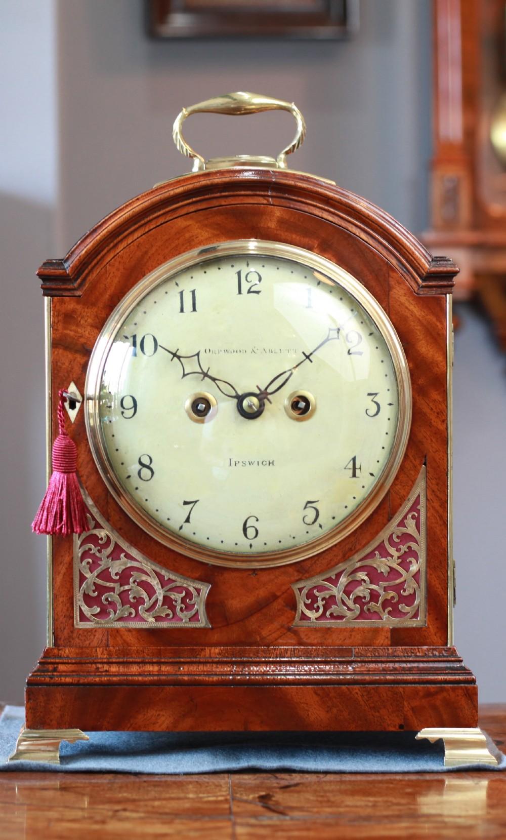 c1820 stunning regency mahogany striking pad top fusee bracket clock by orpwood and ablett of ipswich