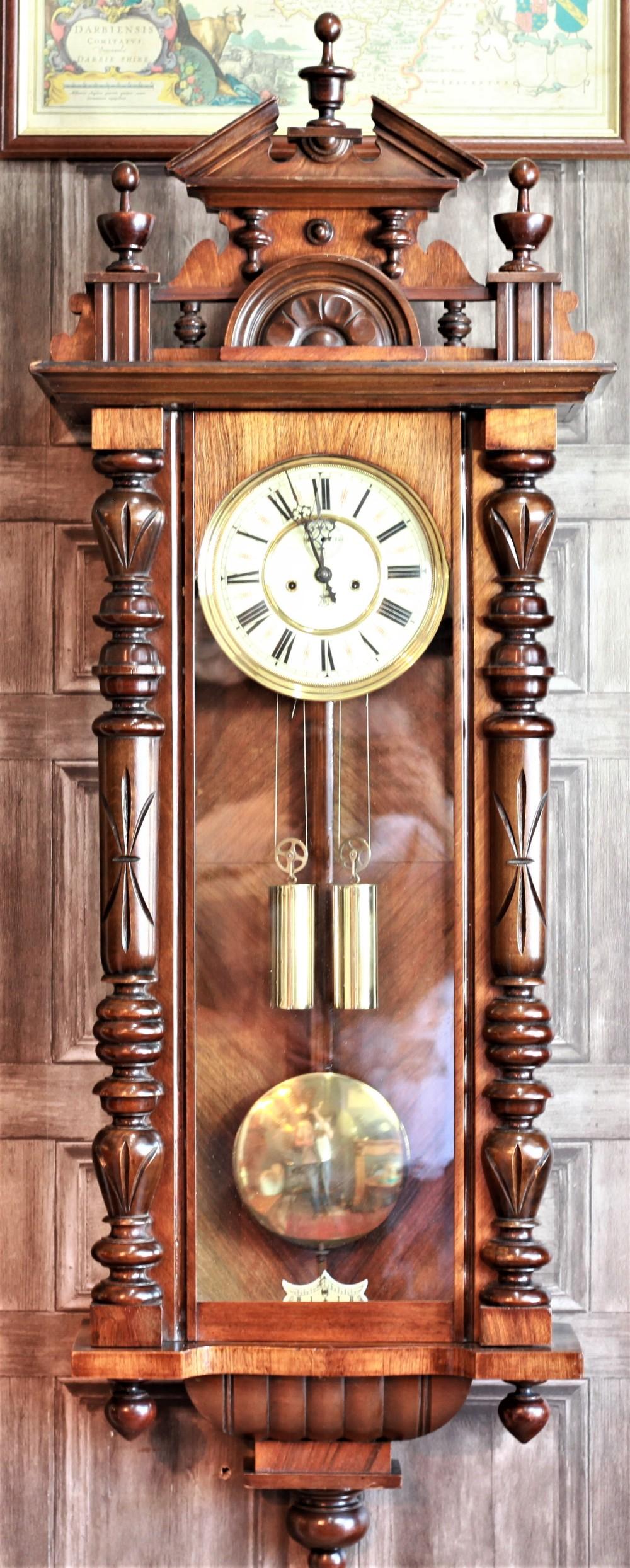 stunning 19th century gustav becker double weight wall vienna clock in a wonderful undamaged condition