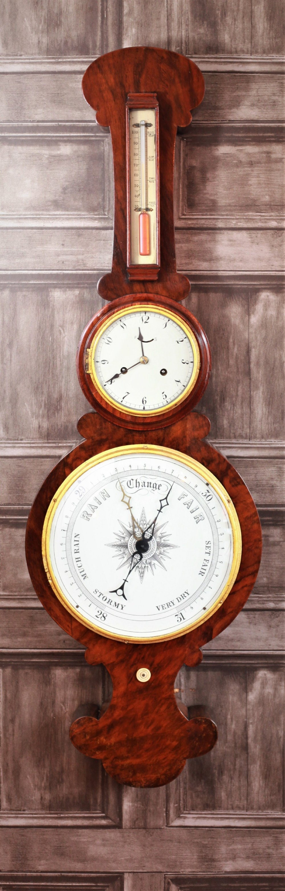 lovely 19th century flame mahogany month going clock mercury barometer combination with original alcohol thermometer