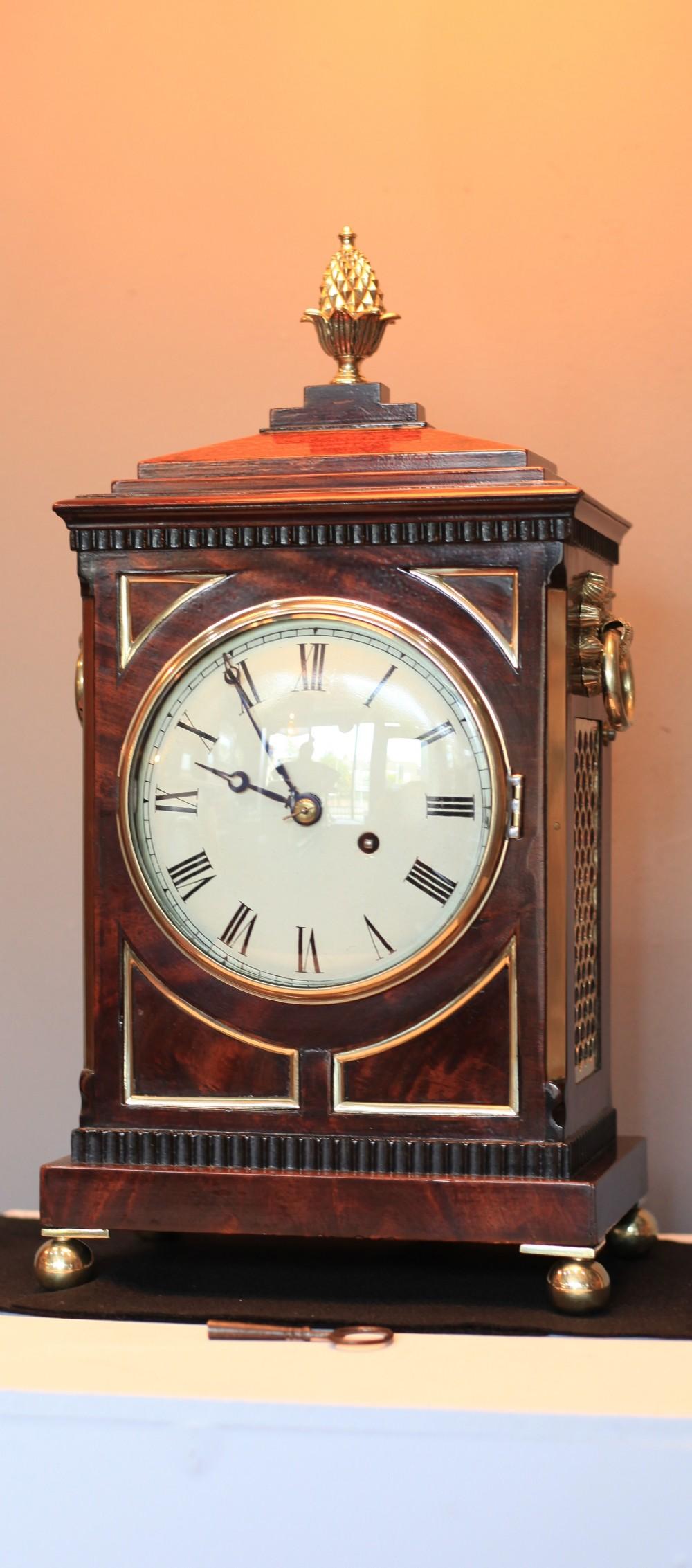 stunning small regency mahogany bracket clock c1800