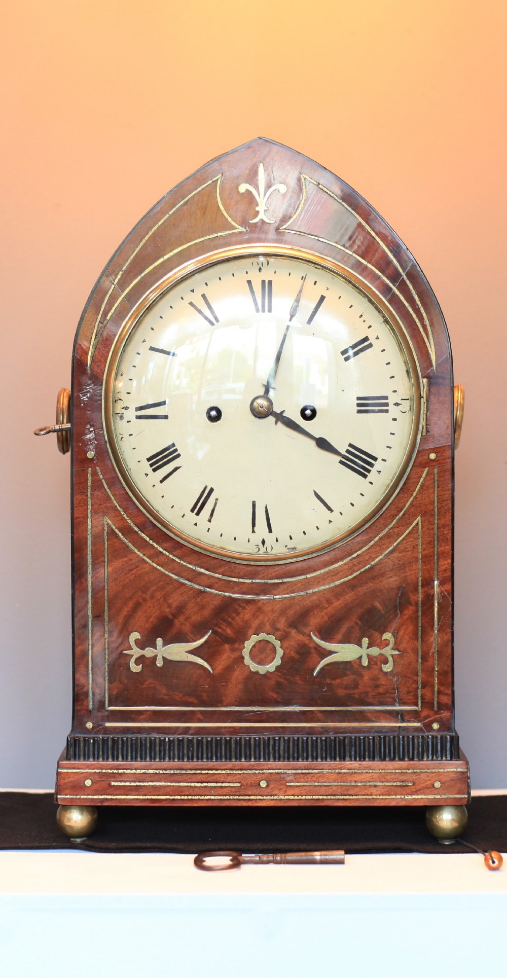 george iii lancet flame mahogany inlaid striking bracket clock with silent lever and pull repeat c1820