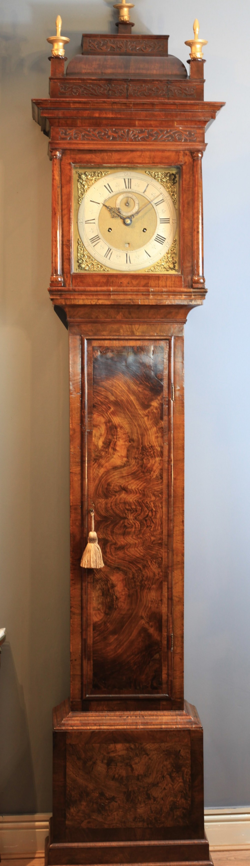 a stunning queen anne month duration book leaf figured walnut longcase clock by roger penton c1690