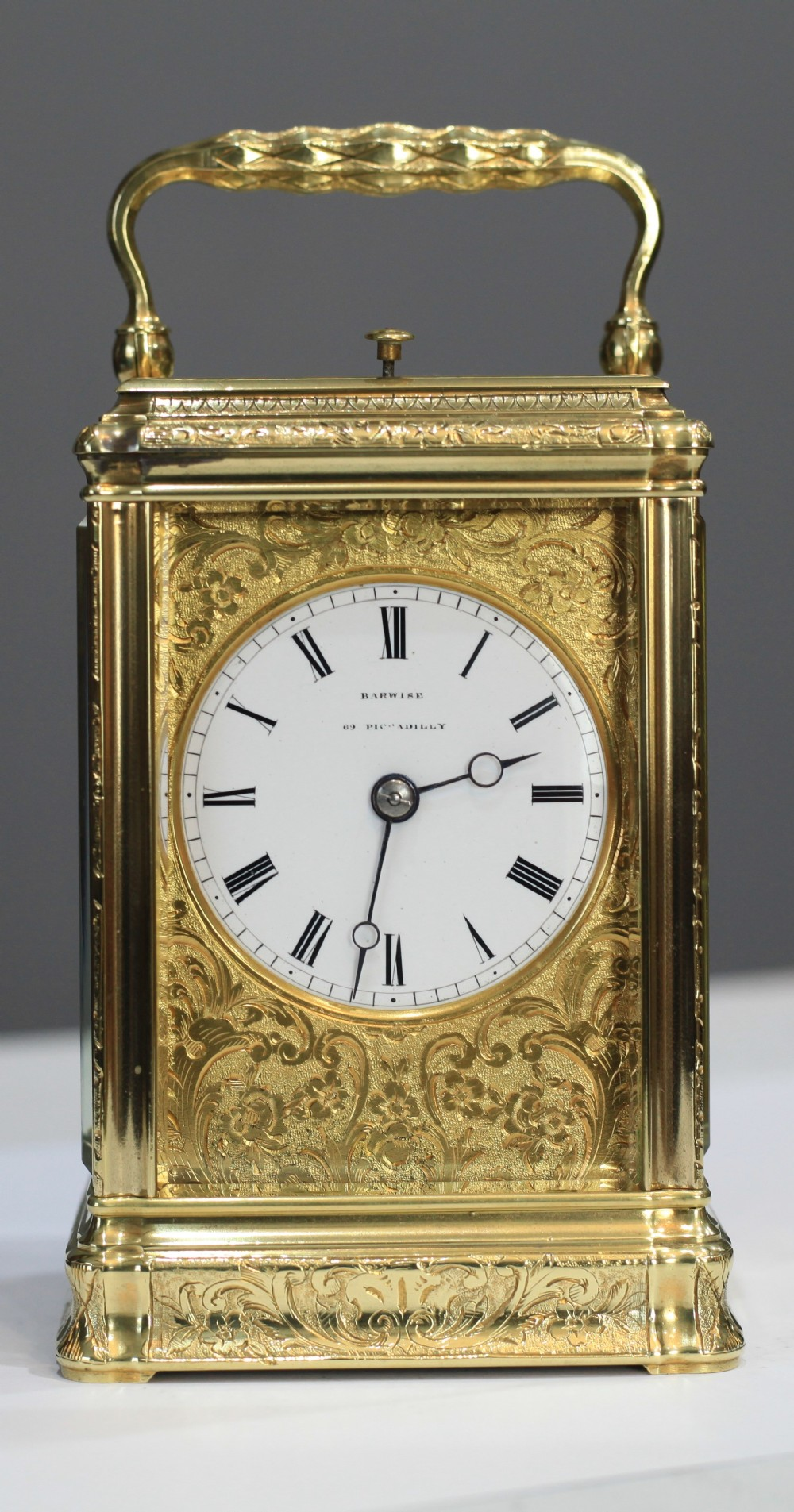 john barwise 17951869 highly engraved small striking carriage clock c1850
