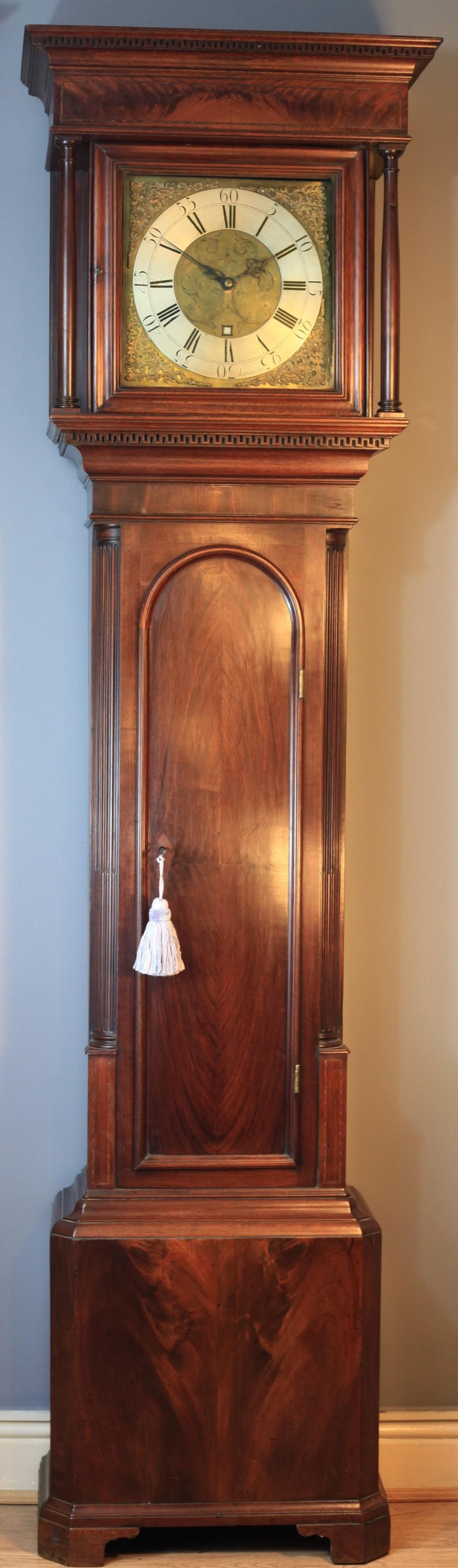 an elegant flame mahogany 30 hour longcase clock by joshua harrocks c1760