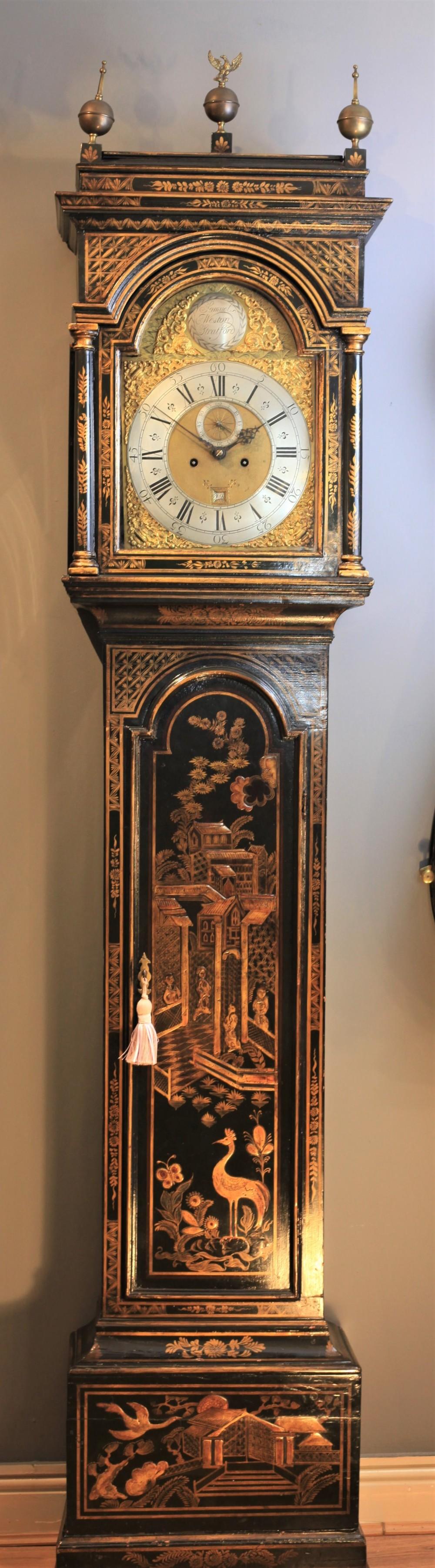 a good george i chinoiserie longcase clock by samuel weston stratford c1730