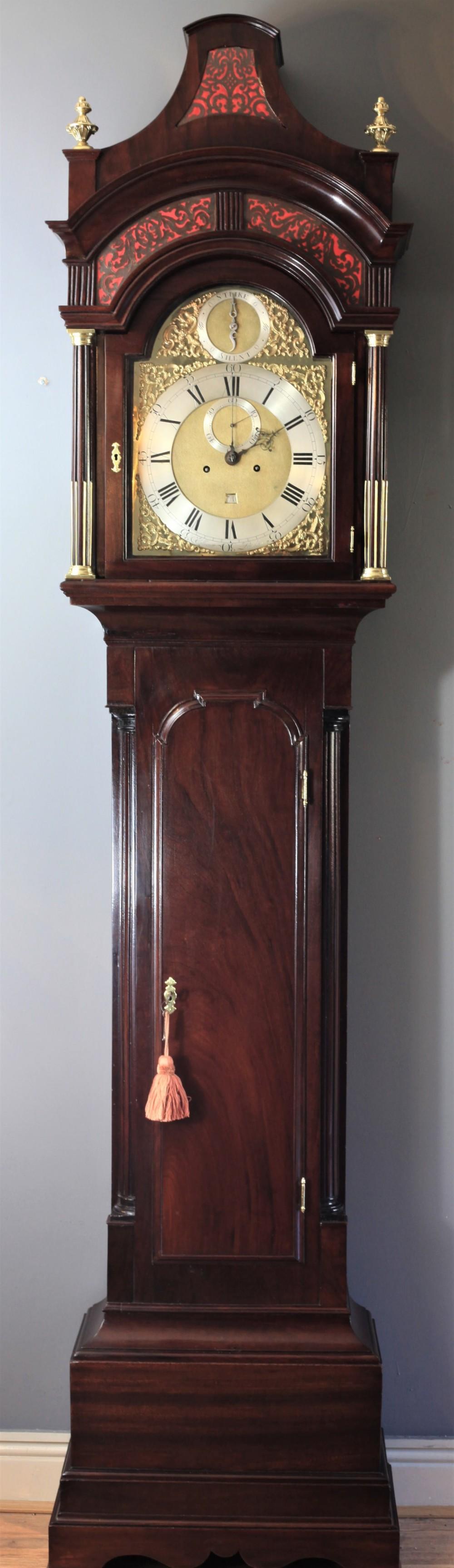 stunning flame mahogany pagoda longcase clock by john ellicott frs c1760