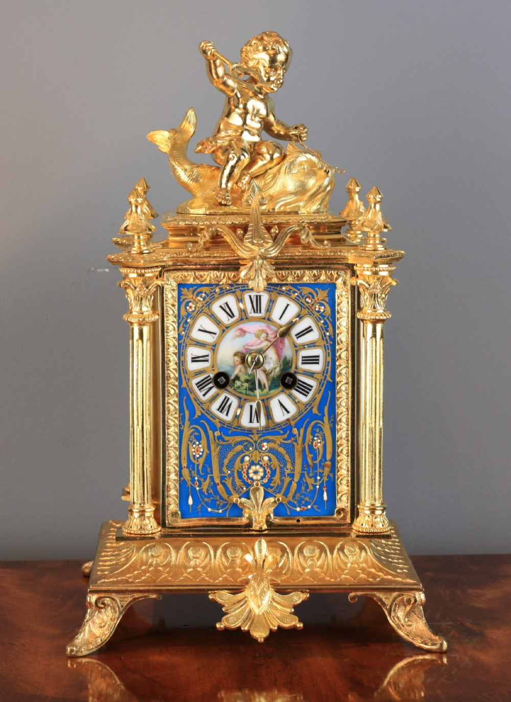 stunning gilt bronze and blue sevres panel french clock by hp and co c1870